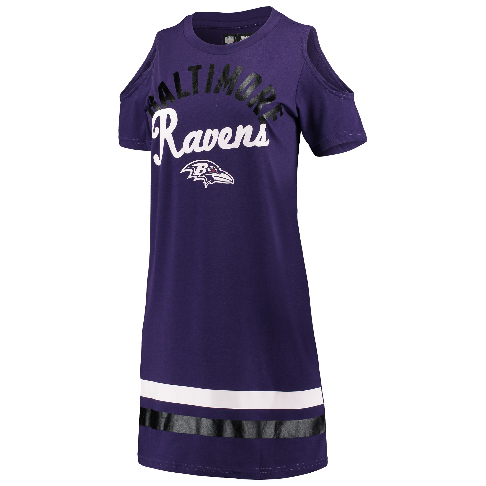 Baltimore Ravens G-III 4Her by Carl Banks Women's Go Get Em Tri-Blend Cold Shoulder Mini-Dress - Purple