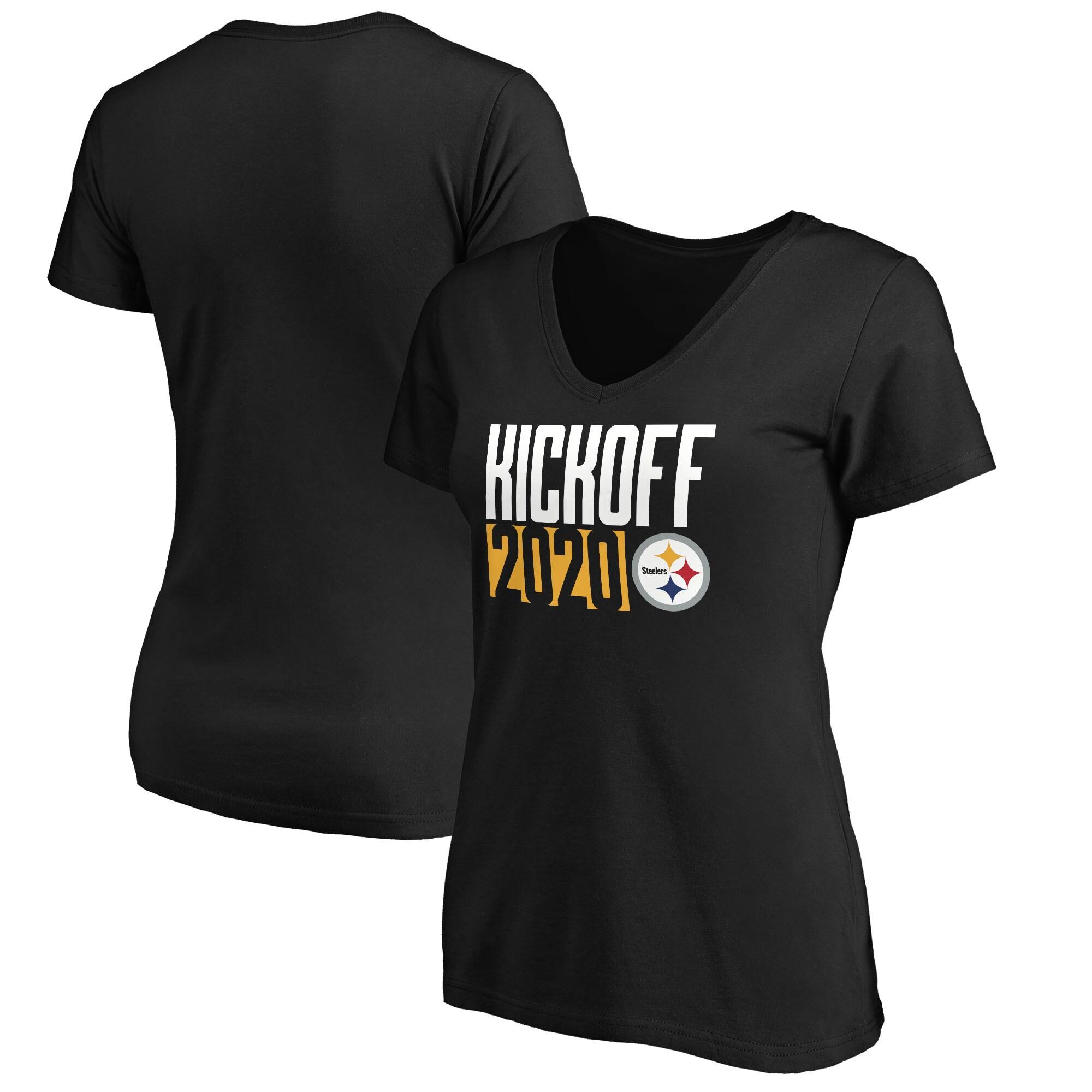 Pittsburgh Steelers Fanatics Branded Women's Kickoff 2020 V-Neck T-Shirt - Black