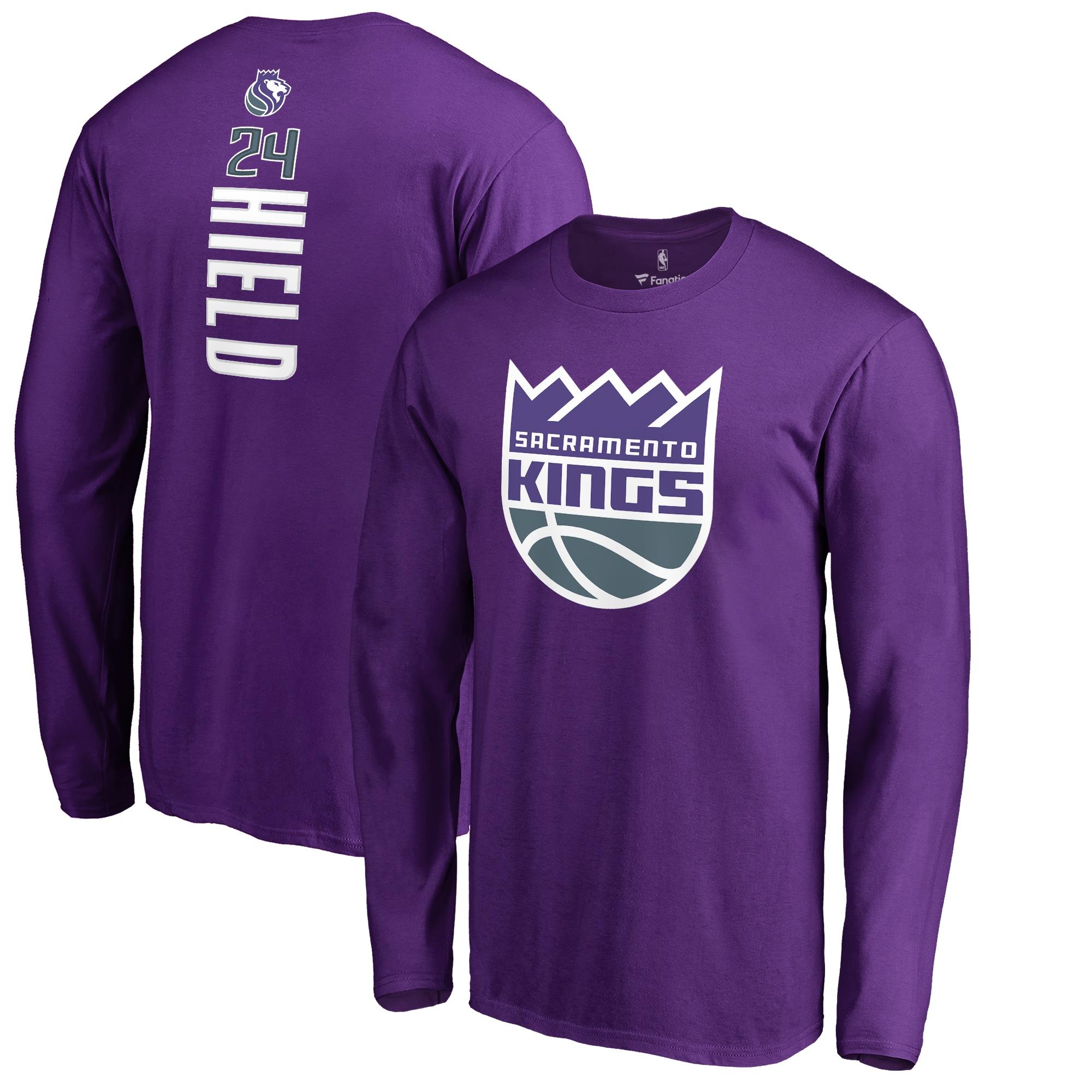 Buddy Hield Sacramento Kings Fanatics Branded Backer Long Sleeve T-Shirt - Purple