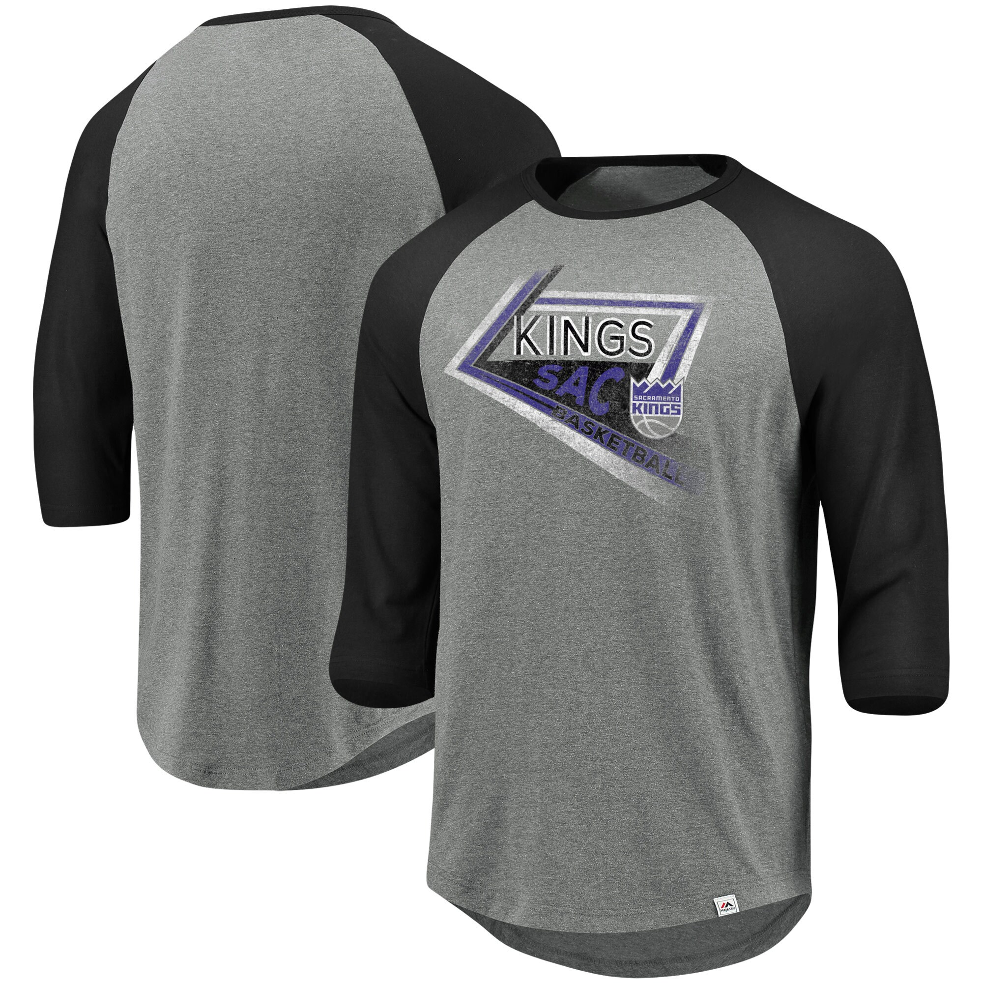 Sacramento Kings Majestic Scoring Position Tri-Blend 3/4-Sleeve Raglan T-Shirt - Heathered Gray/Black