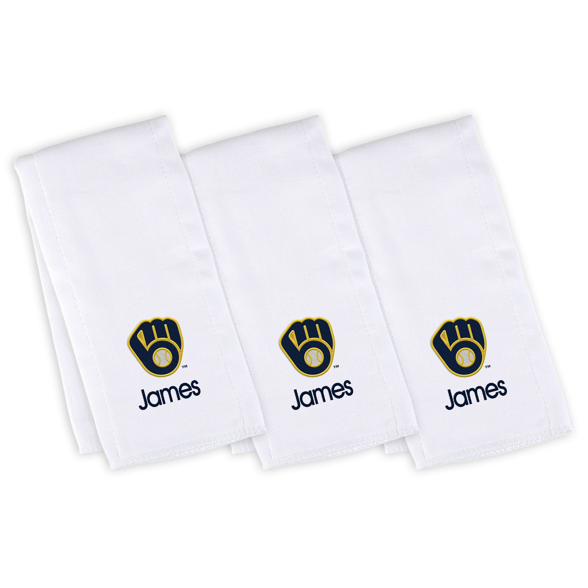 Milwaukee Brewers Infant Personalized Burp Cloth 3-Pack - White