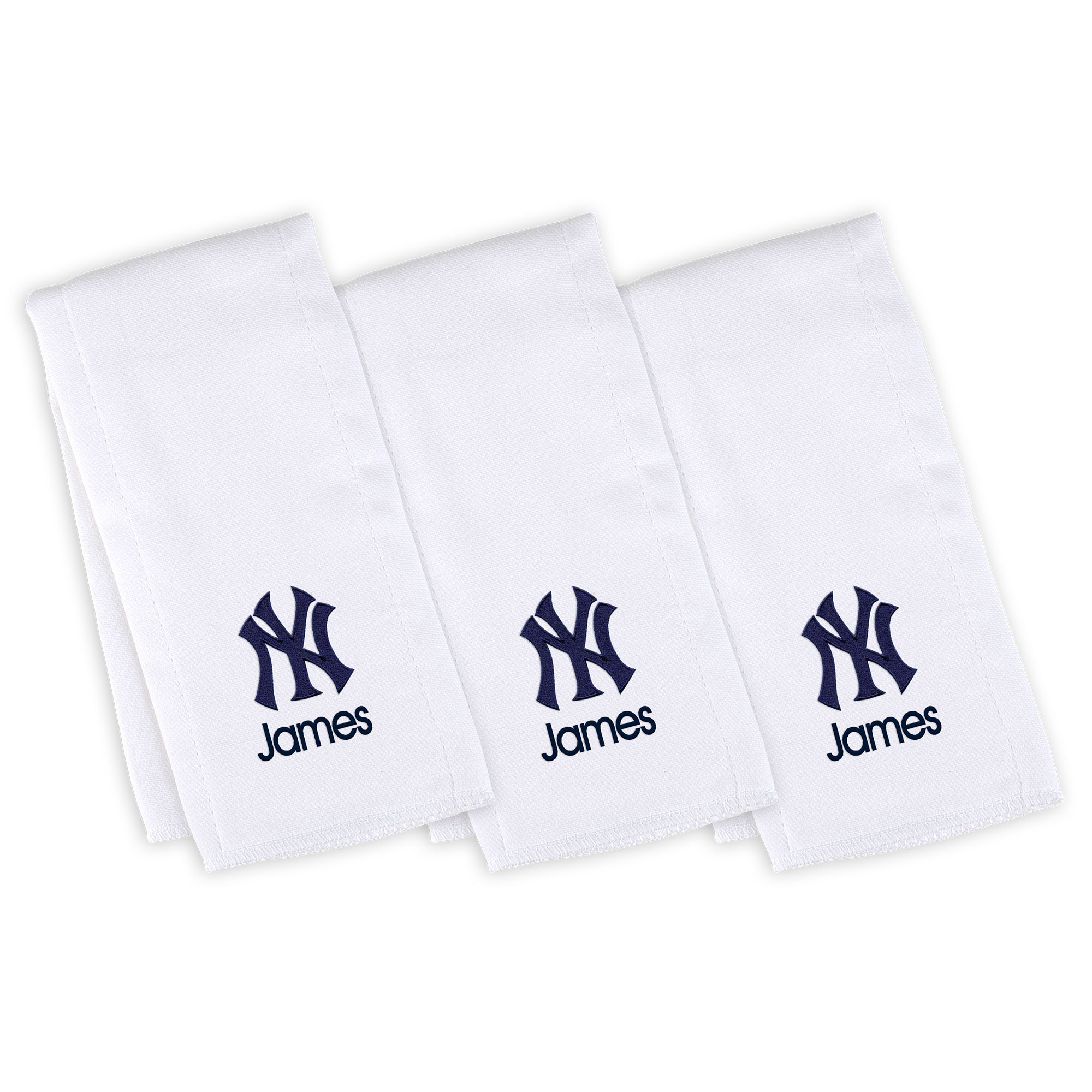 New York Yankees Infant Personalized Burp Cloth 3-Pack - White