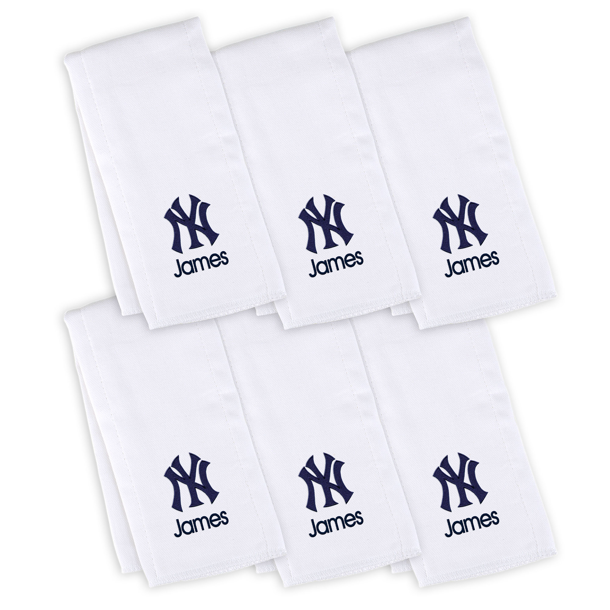 New York Yankees Infant Personalized Burp Cloth 6-Pack - White