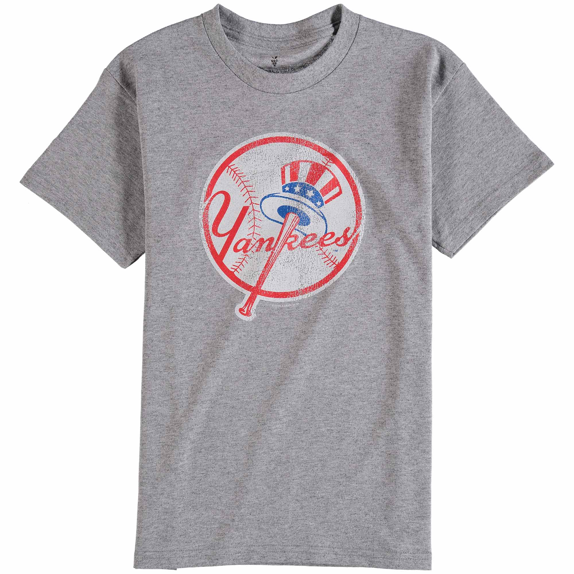 New York Yankees Youth Distressed Logo T-Shirt - Gray