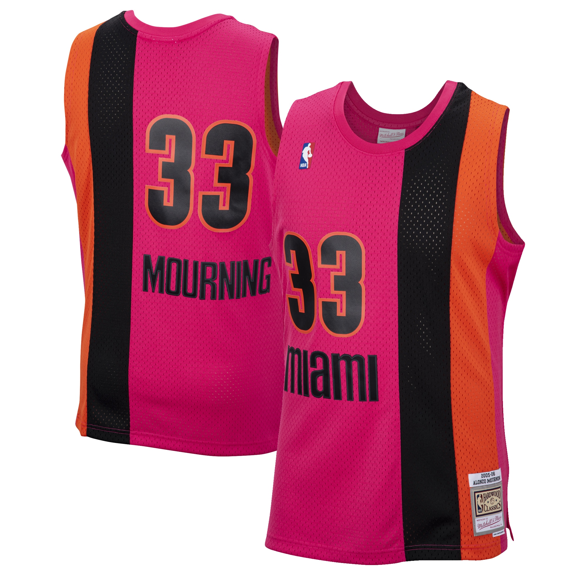 Alonzo Mourning Miami Heat Mitchell & Ness 2005-06 Hardwood Classics Reload Swingman Jersey - Pink