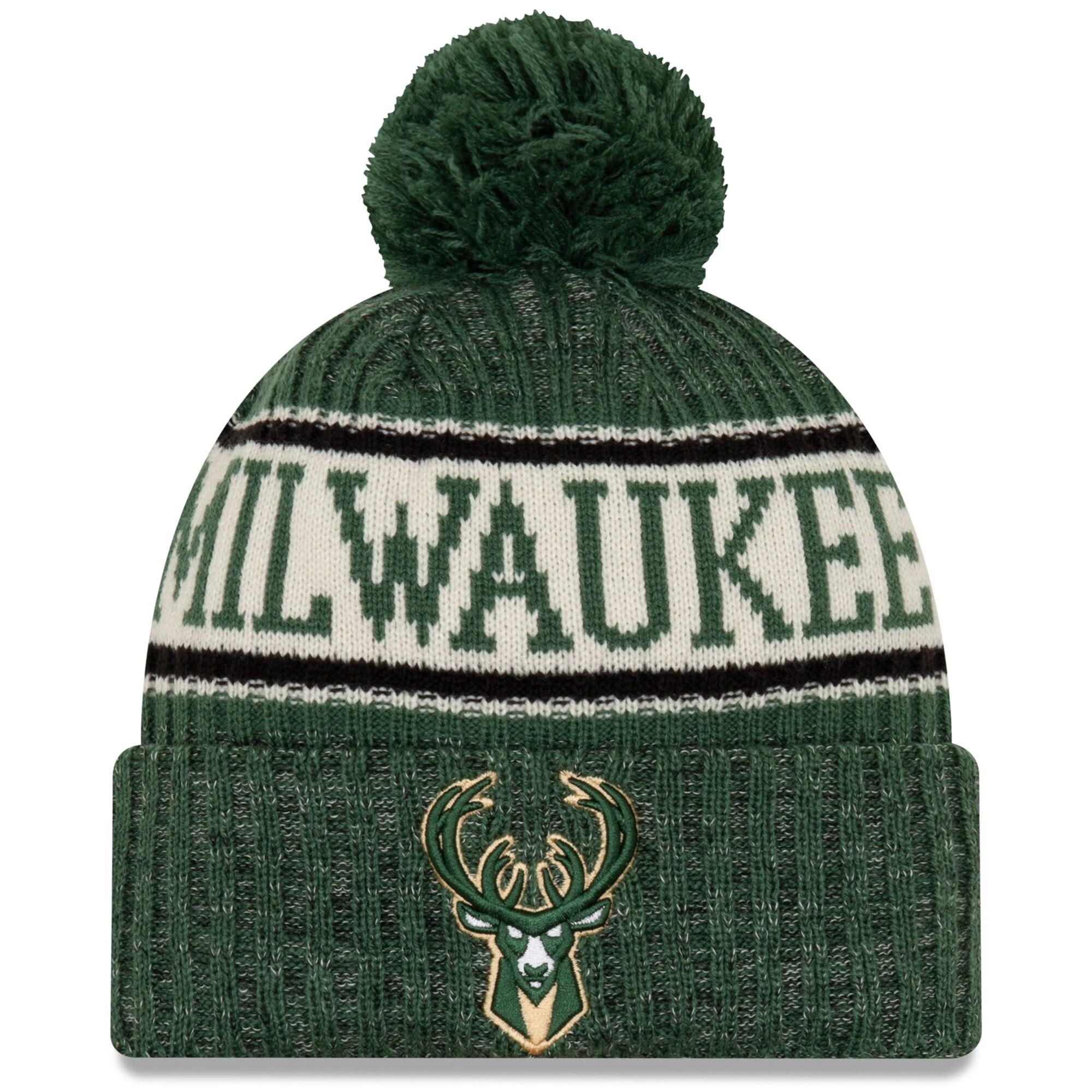 Milwaukee Bucks New Era Sport Cuffed Knit Hat with Pom - Hunter Green