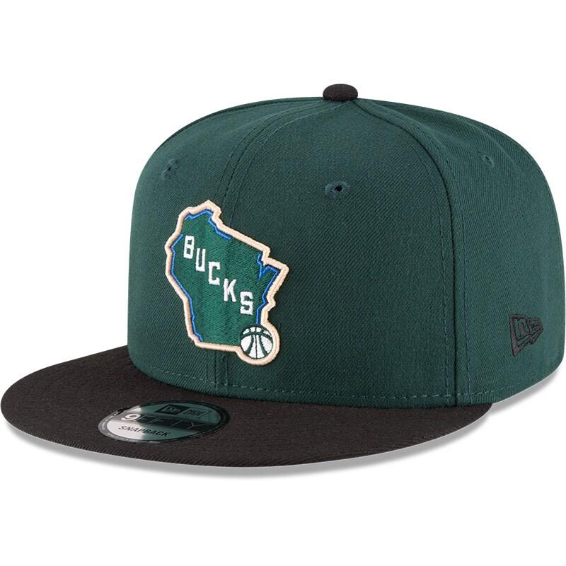 Milwaukee Bucks New Era 2-Tone 9FIFTY Adjustable Snapback Hat - Hunter Green/Black