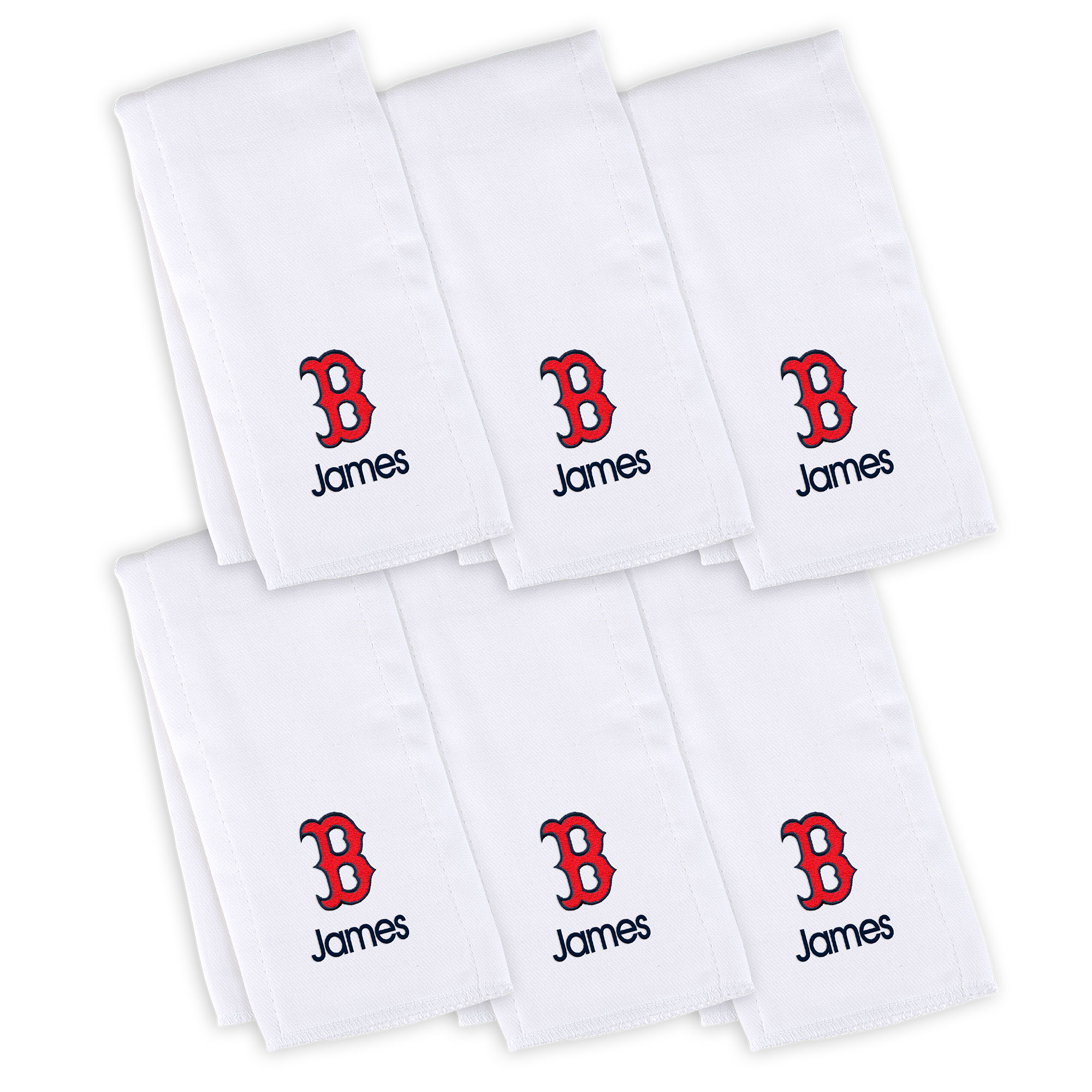 Boston Red Sox Infant Personalized Burp Cloth 6-Pack - White