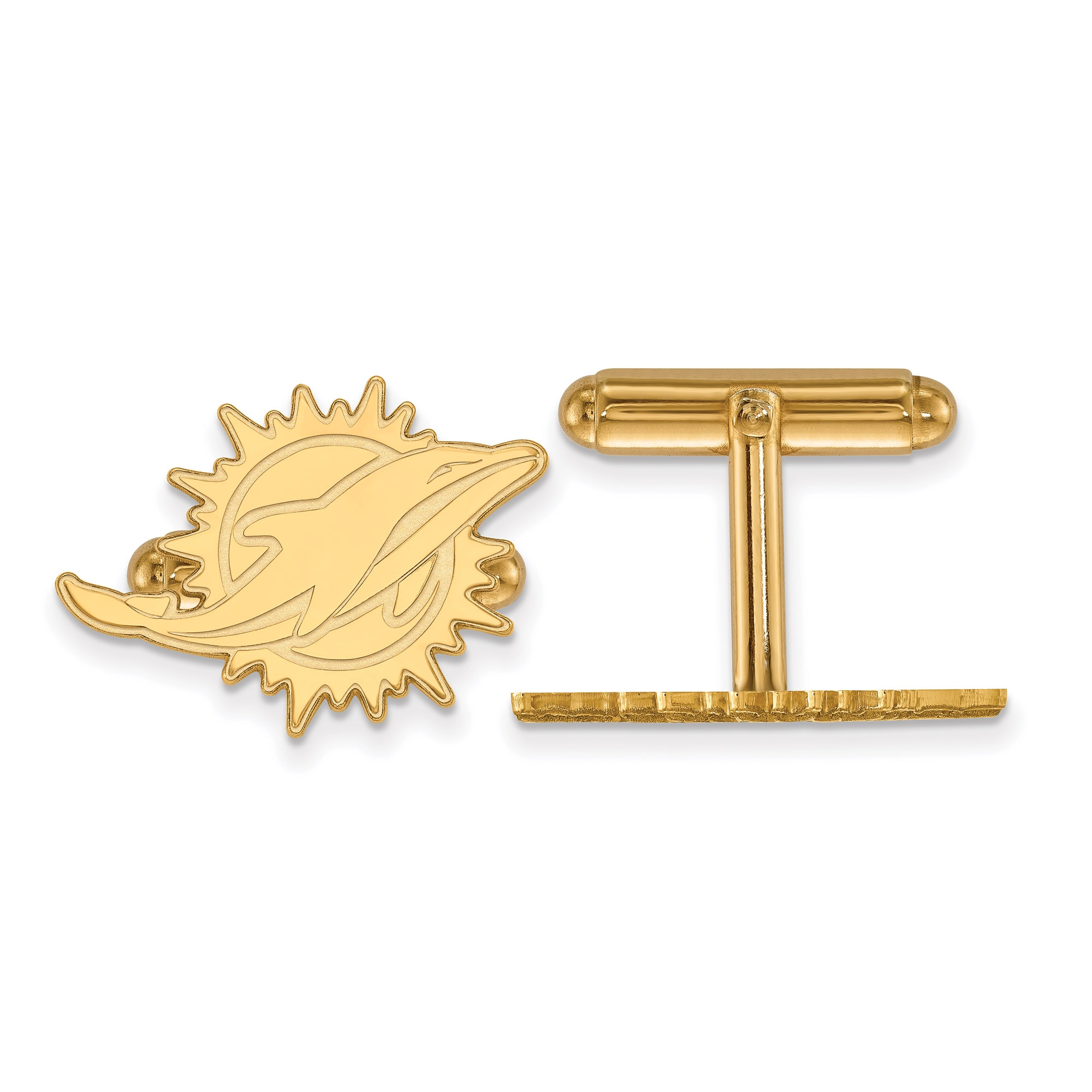 Miami Dolphins Gold-Plated Logo Cufflinks