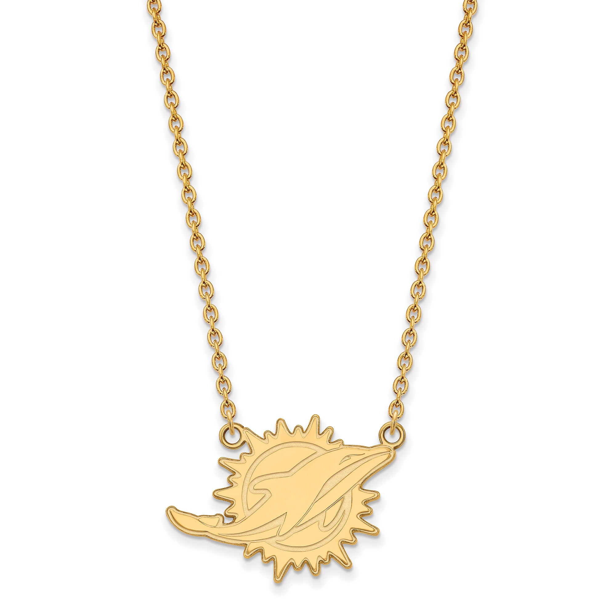 Miami Dolphins Gold-Plated Large Logo Split Chain Necklace