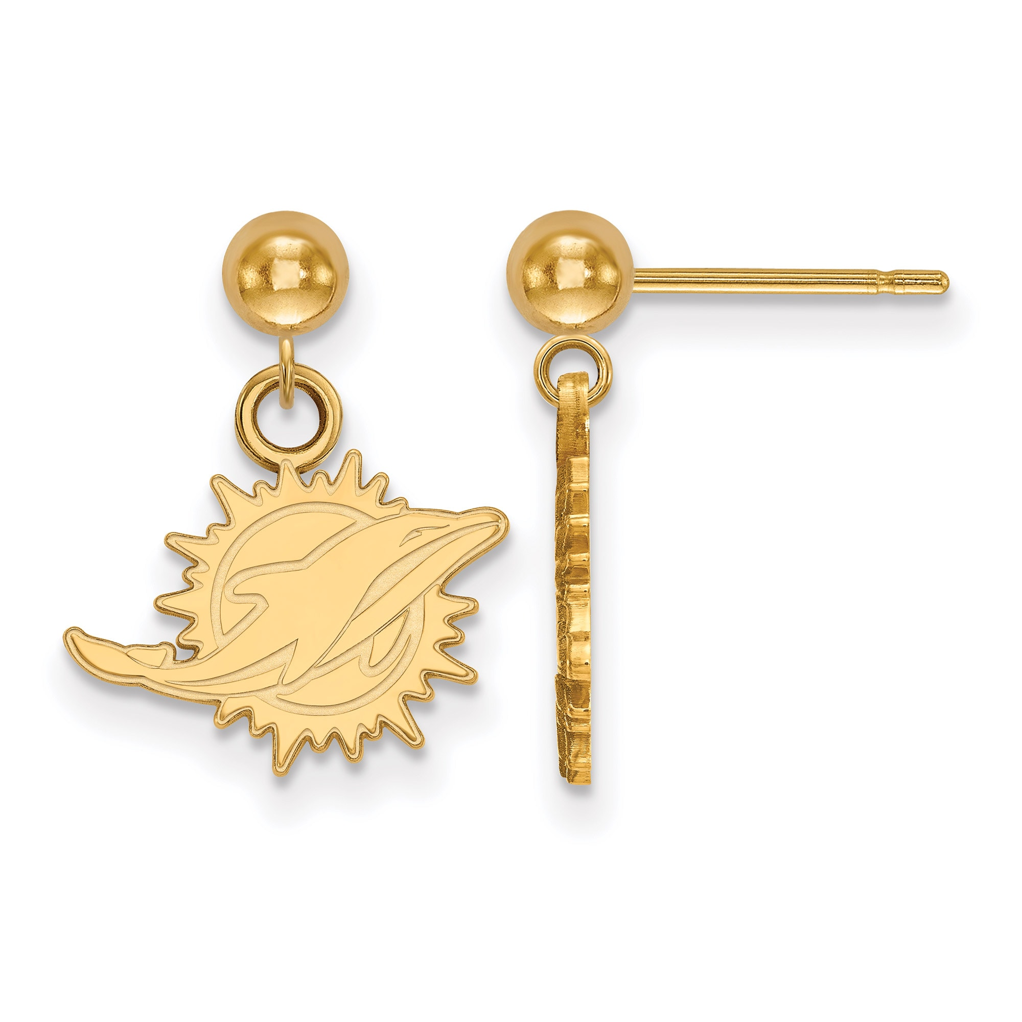 Miami Dolphins Gold-Plated Small Logo Ball Post Earrings