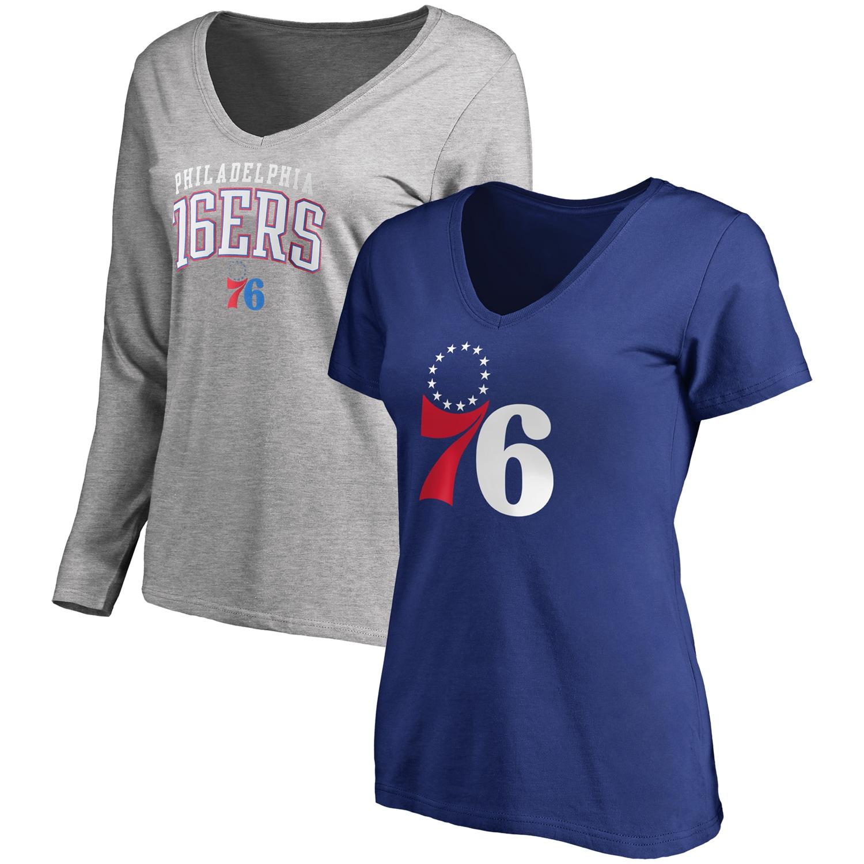 Philadelphia 76ers Fanatics Branded Women's Square V-Neck T-Shirt Combo Set - Royal/Gray