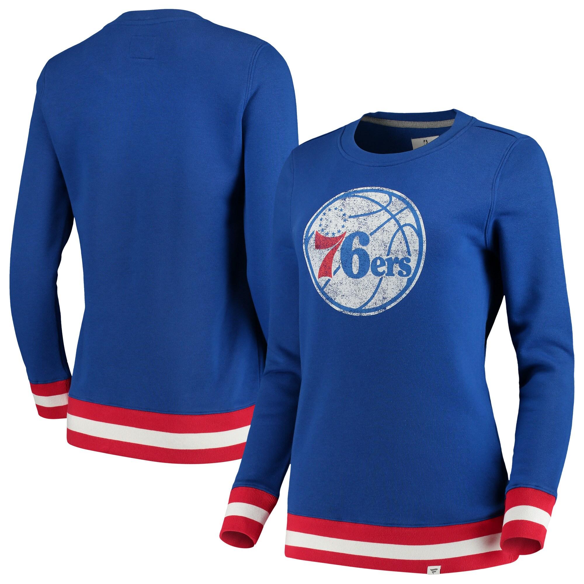 Philadelphia 76ers Fanatics Branded Women's True Classic Vintage Retro Stripe Fleece Crew Sweatshirt - Royal