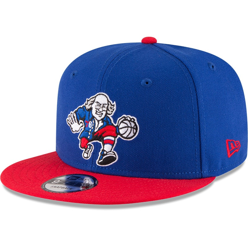 Philadelphia 76ers New Era 2-Tone 9FIFTY Adjustable Snapback Hat - Royal/Red