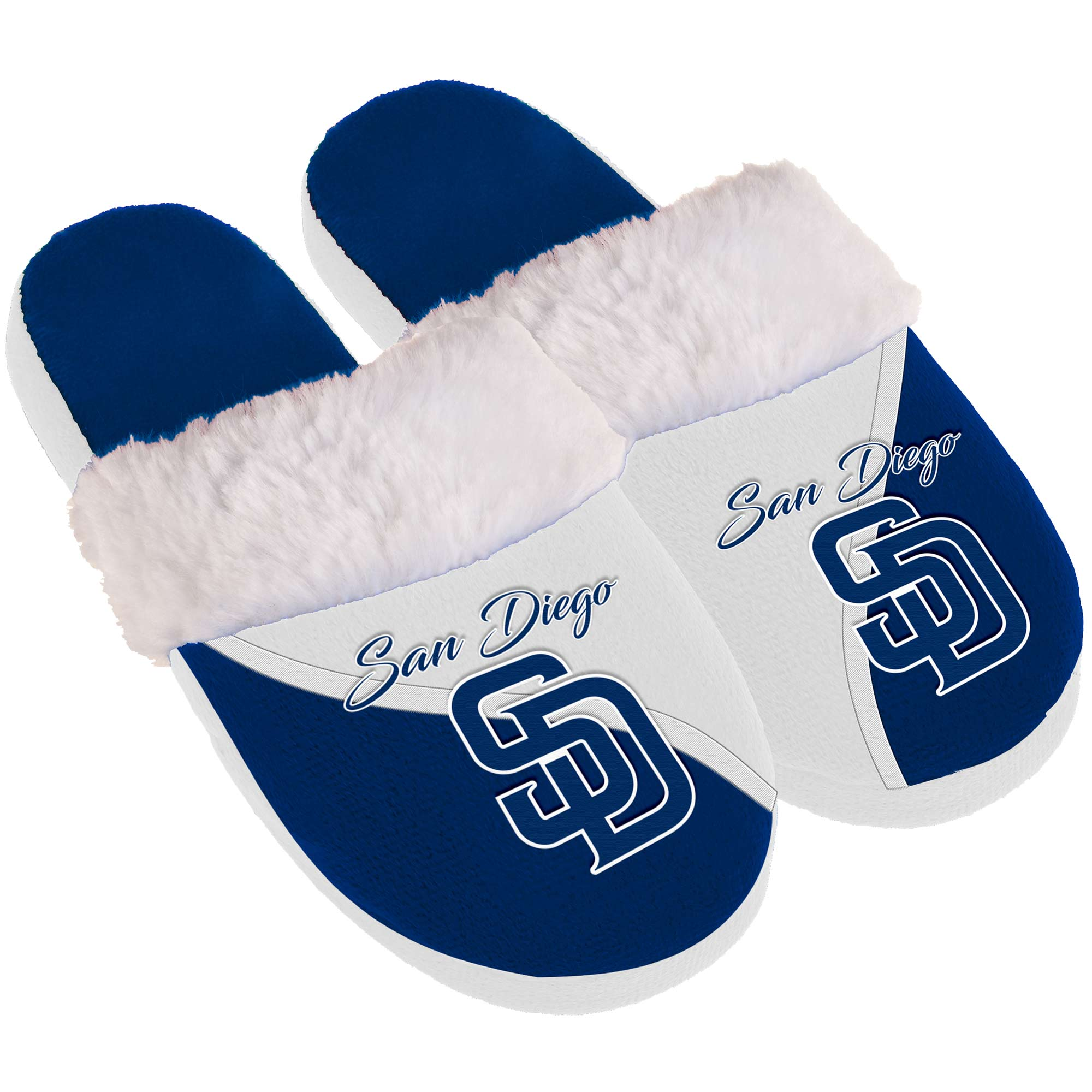 San Diego Padres Women's Cursive Colorblock Slippers