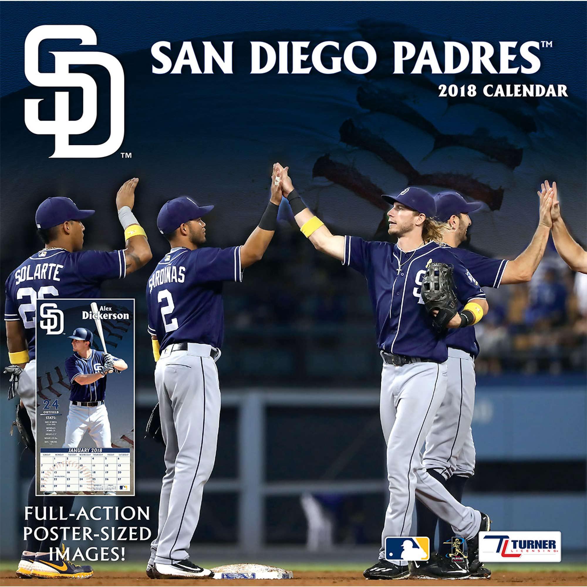"San Diego Padres 2018 12"" x 12"" Team Wall Calendar"