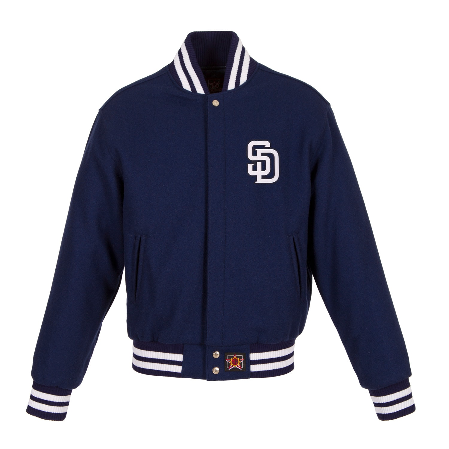San Diego Padres JH Design Women's Embroidered Logo All-Wool Jacket - Navy
