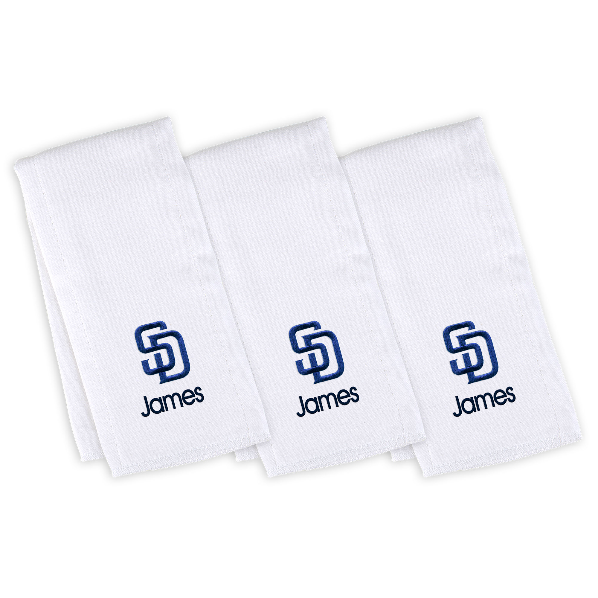San Diego Padres Infant Personalized Burp Cloth 3-Pack - White
