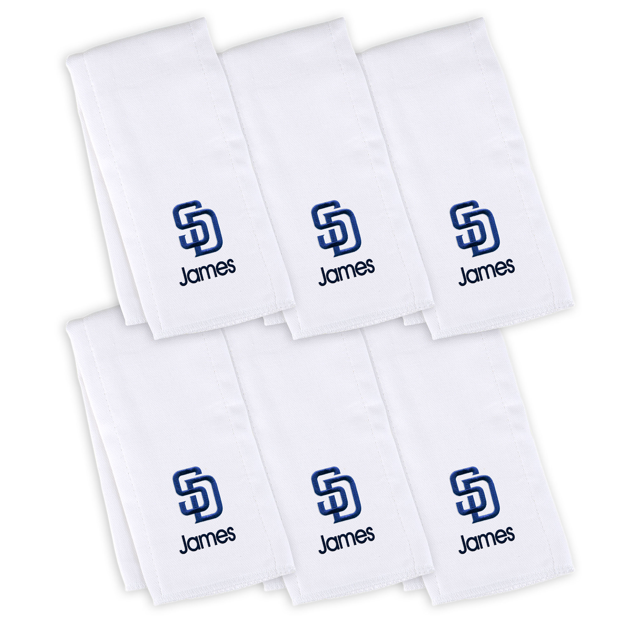 San Diego Padres Infant Personalized Burp Cloth 6-Pack - White