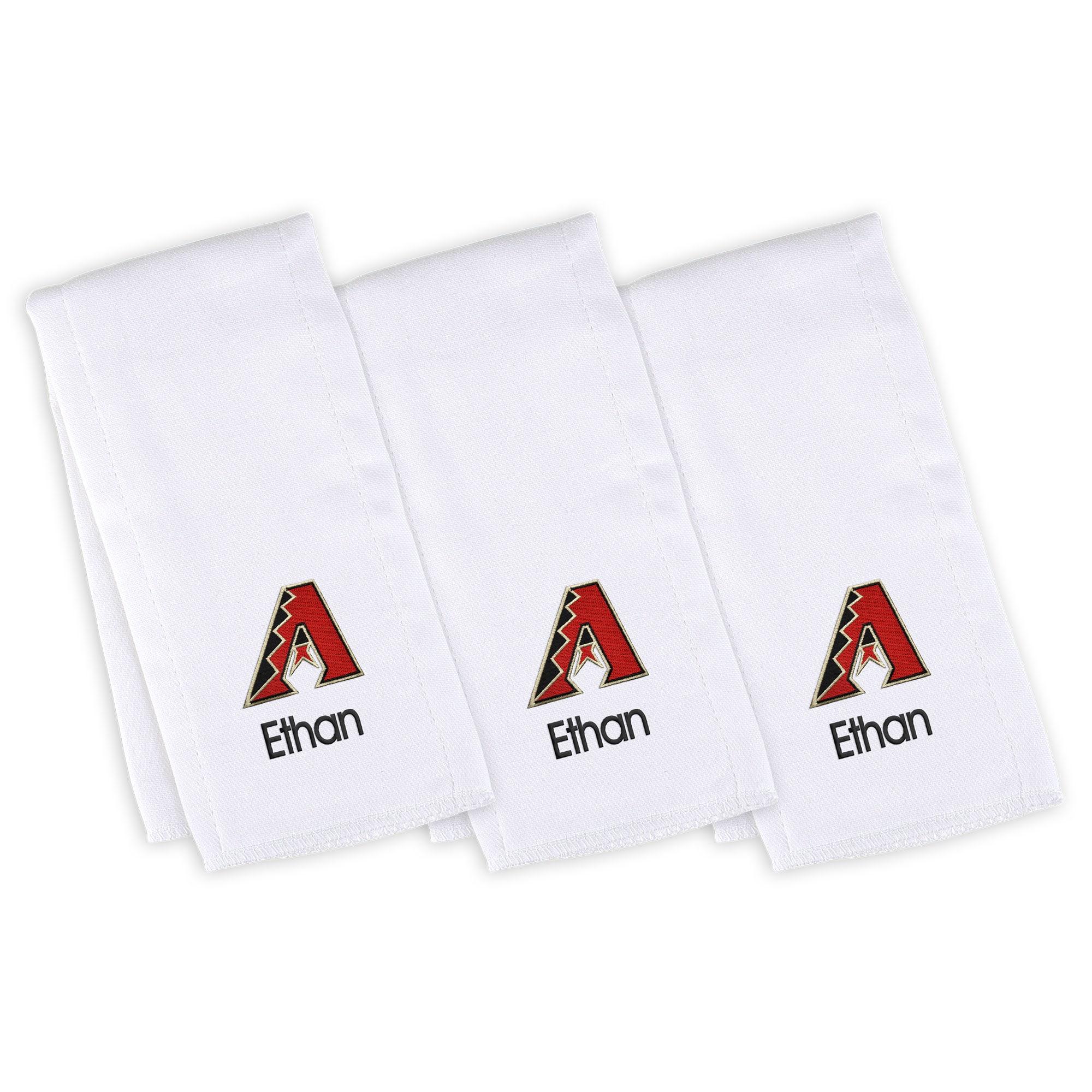 Arizona Diamondbacks Infant Personalized Burp Cloth 3-Pack - White