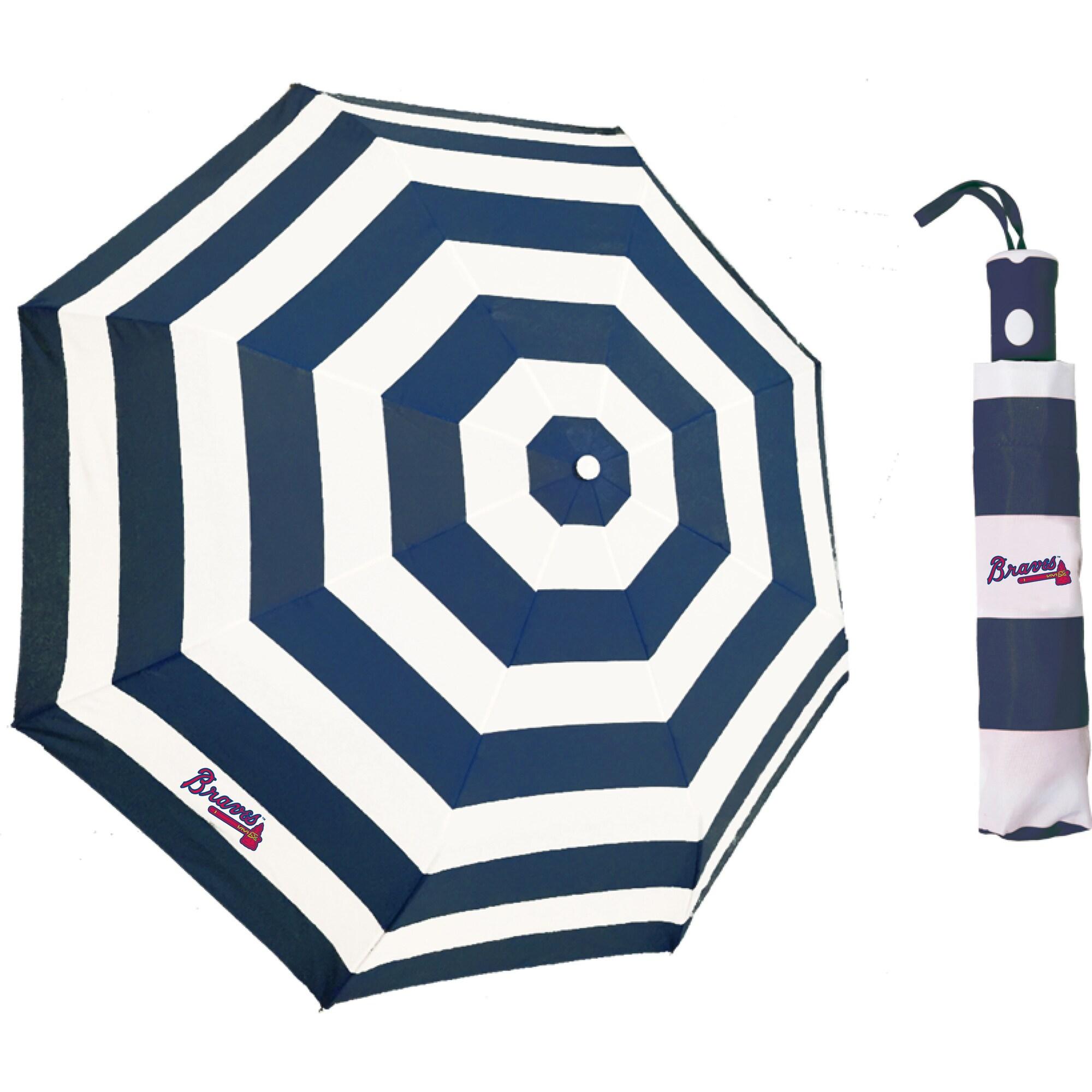Atlanta Braves Cabana Stripe Folding Umbrella