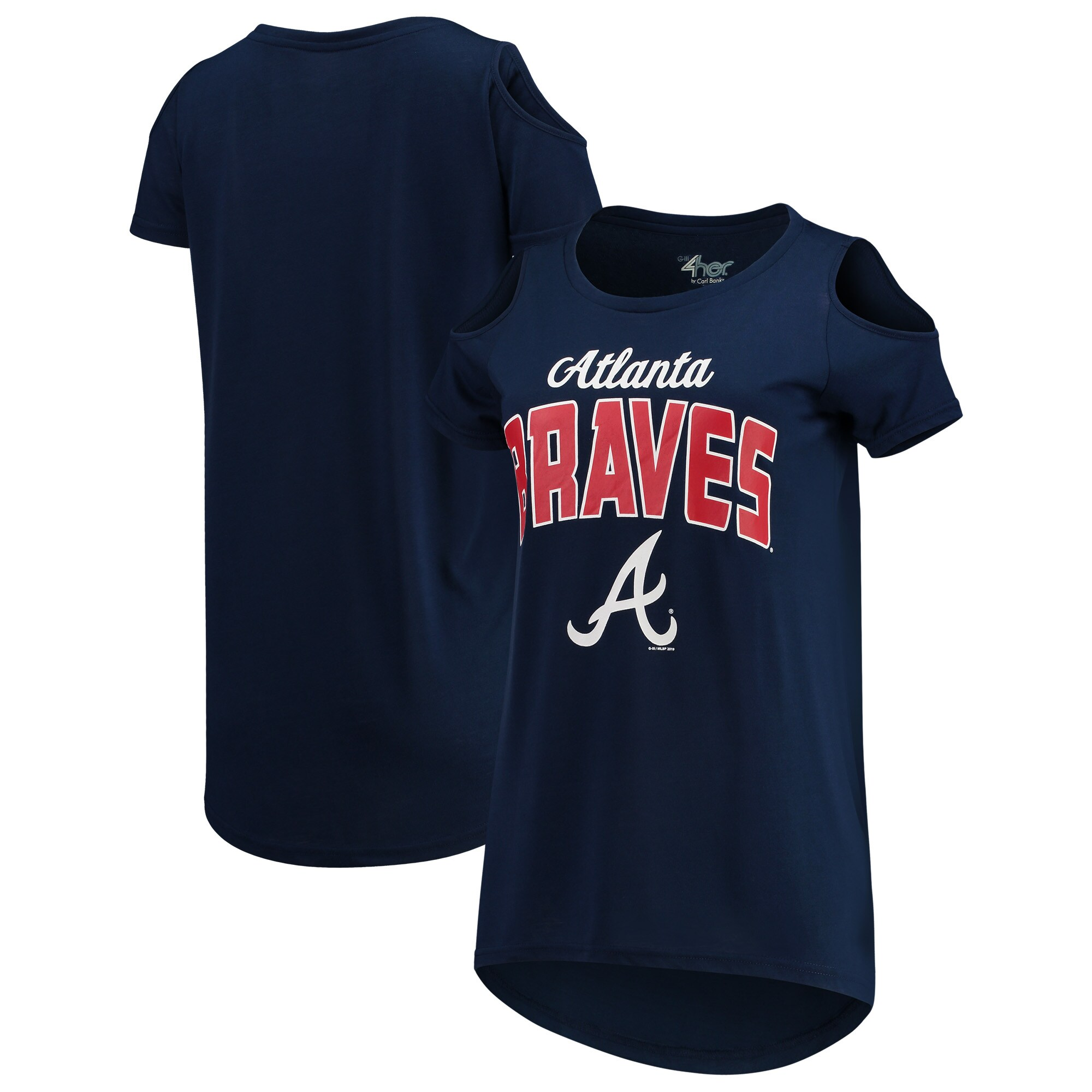 Atlanta Braves G-III 4Her by Carl Banks Women's Clear the Bases Cold Shoulder T-Shirt - Navy