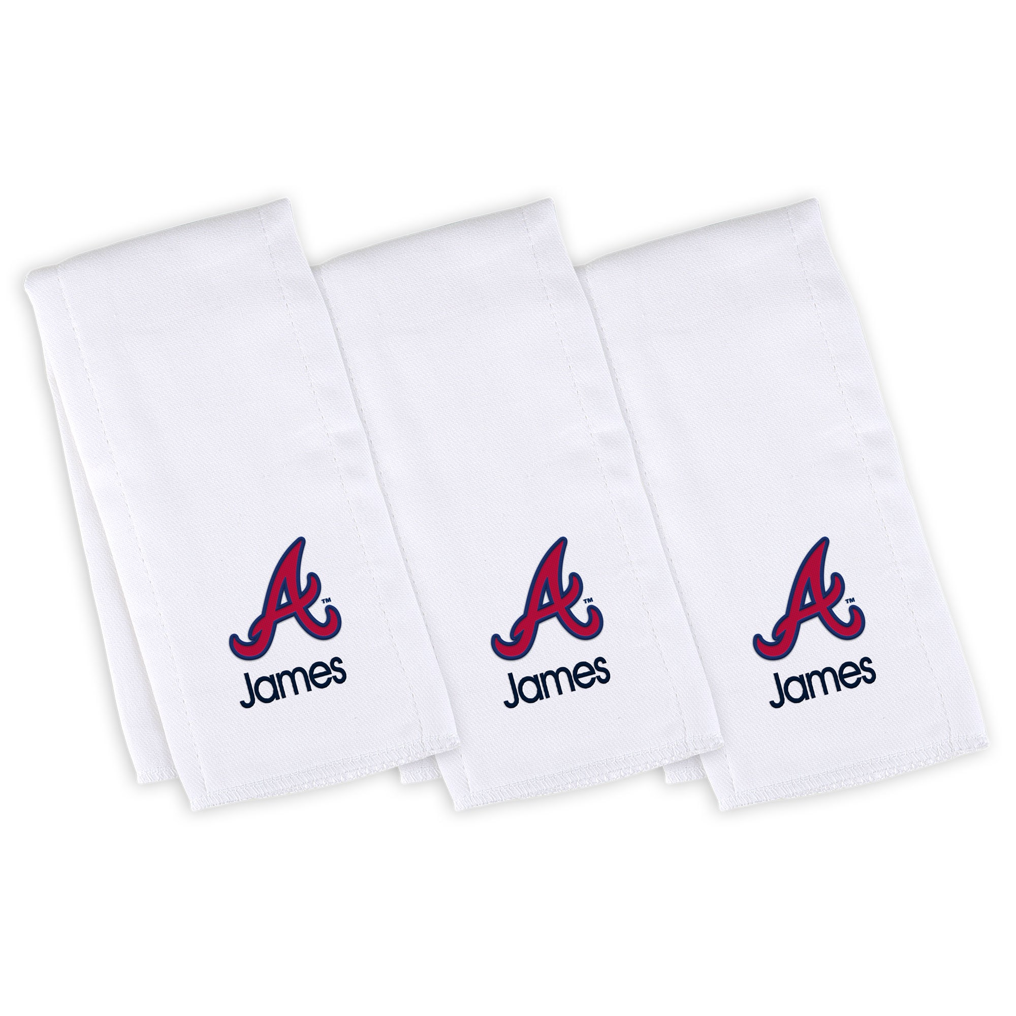 Atlanta Braves Infant Personalized Burp Cloth 3-Pack - White