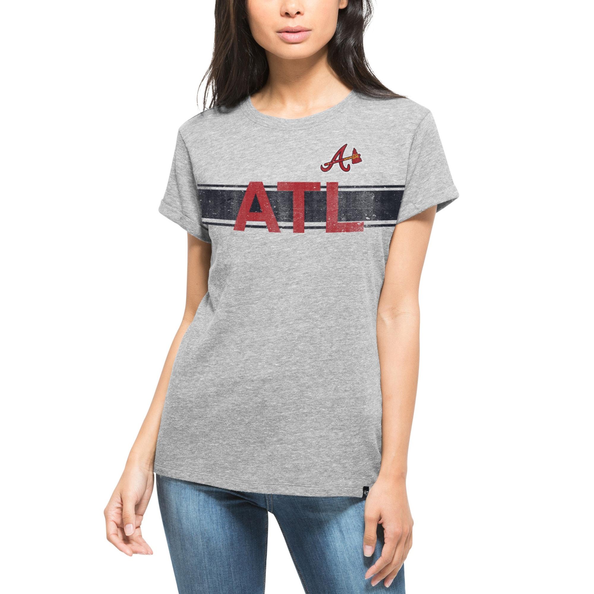 Atlanta Braves '47 Women's Super Hero Boyfriend Fit T-Shirt - Heather Gray