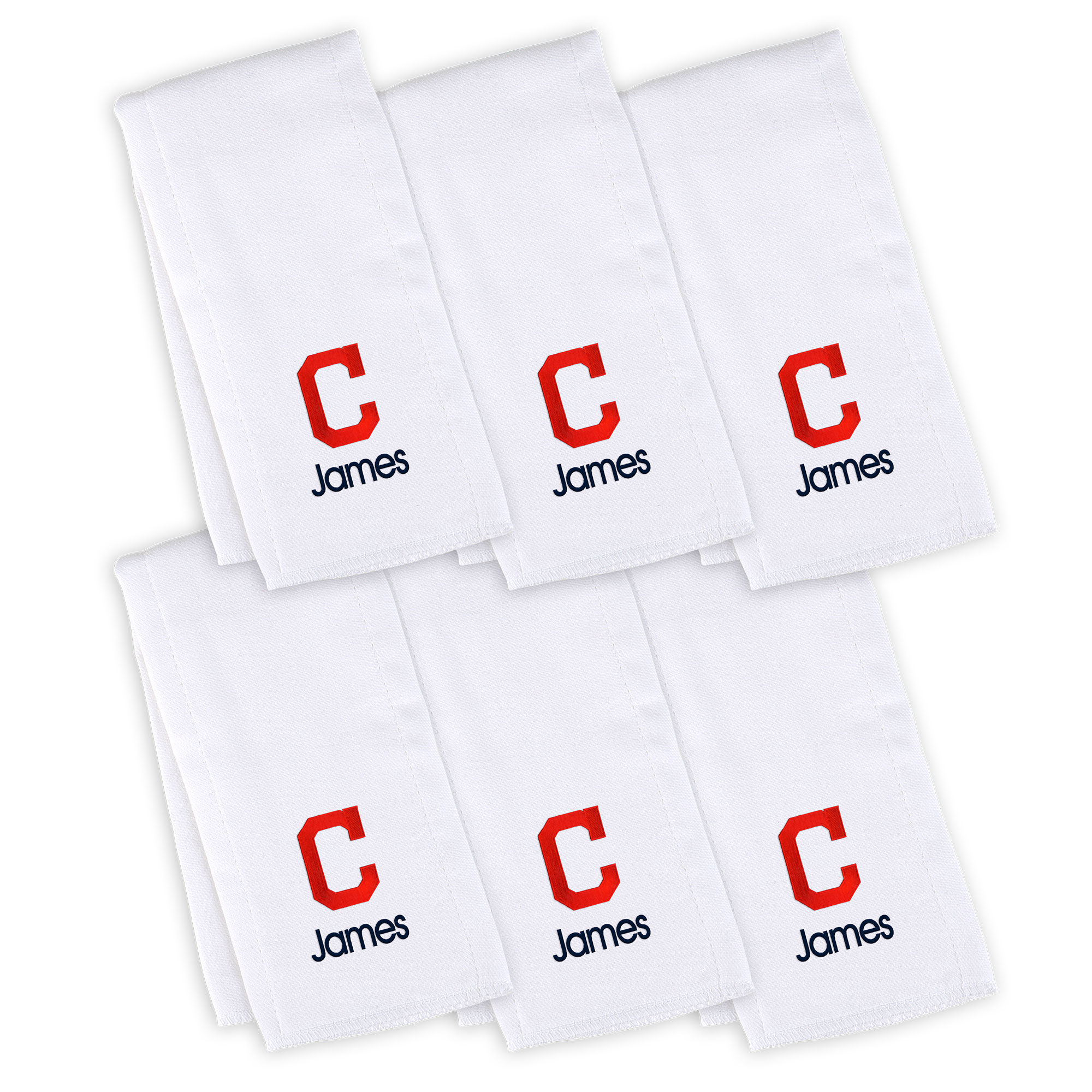 Cleveland Indians Infant Personalized Burp Cloth 6-Pack - White