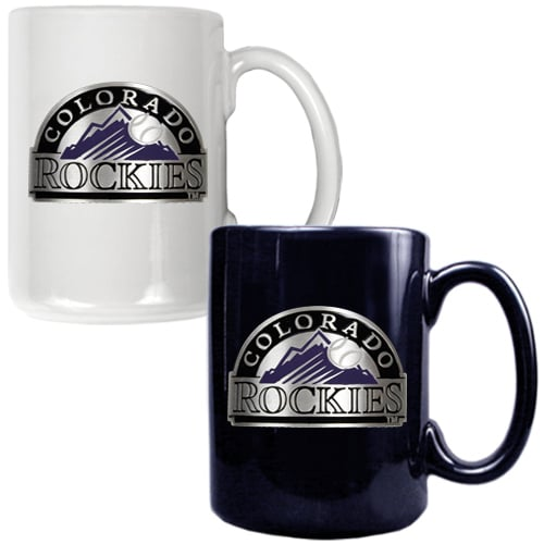 Colorado Rockies 15oz. Coffee Mug Set - White/Black