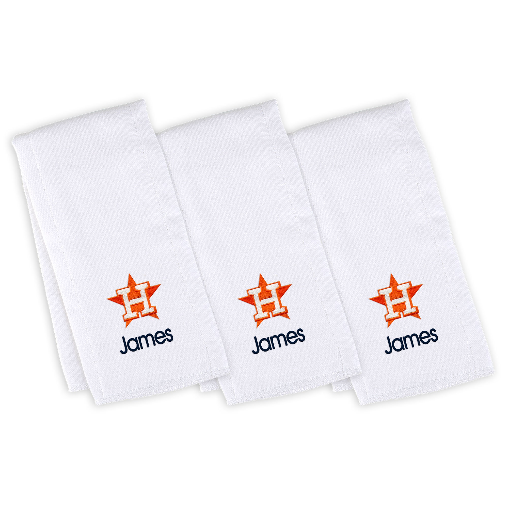 Houston Astros Infant Personalized Burp Cloth 3-Pack - White
