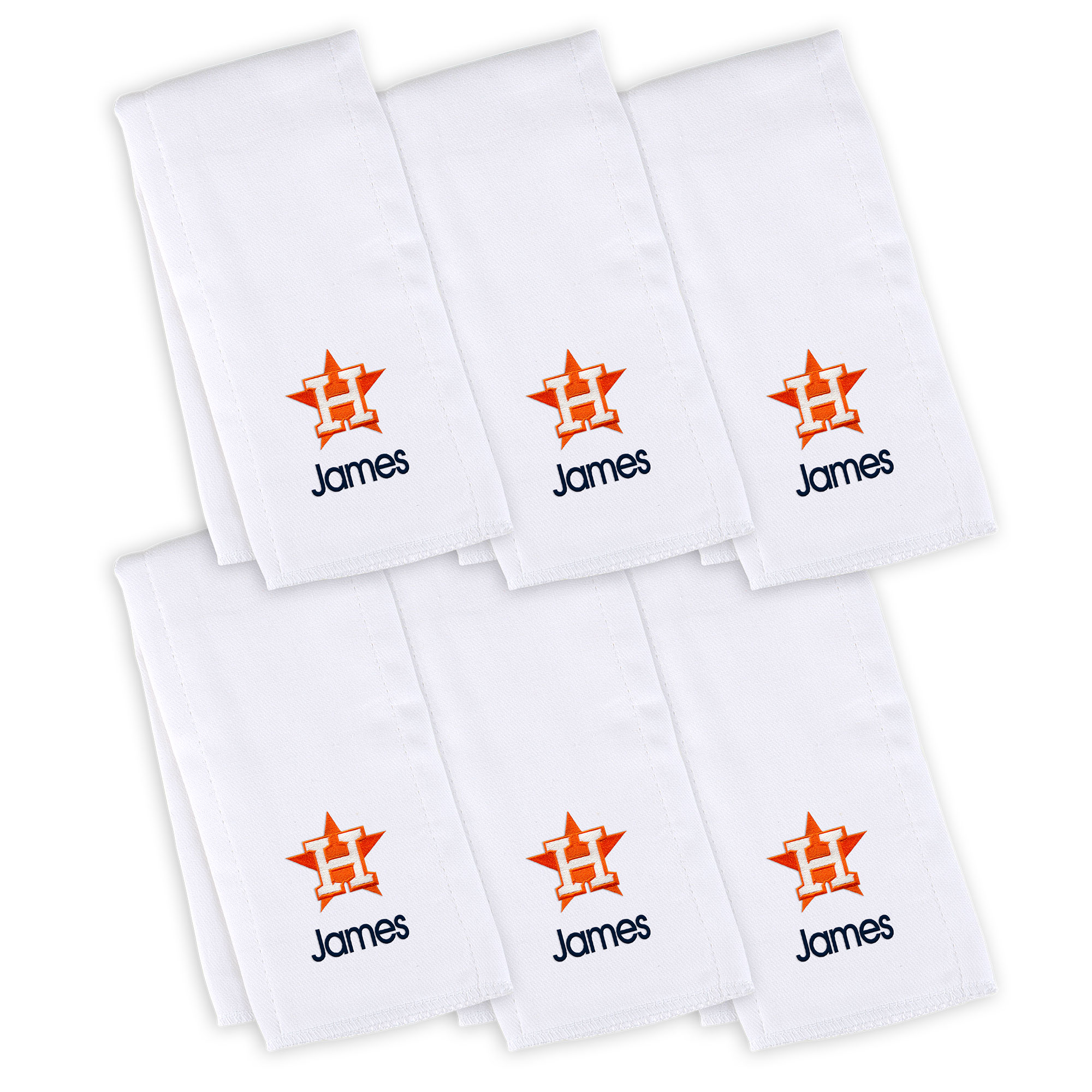 Houston Astros Infant Personalized Burp Cloth 6-Pack - White
