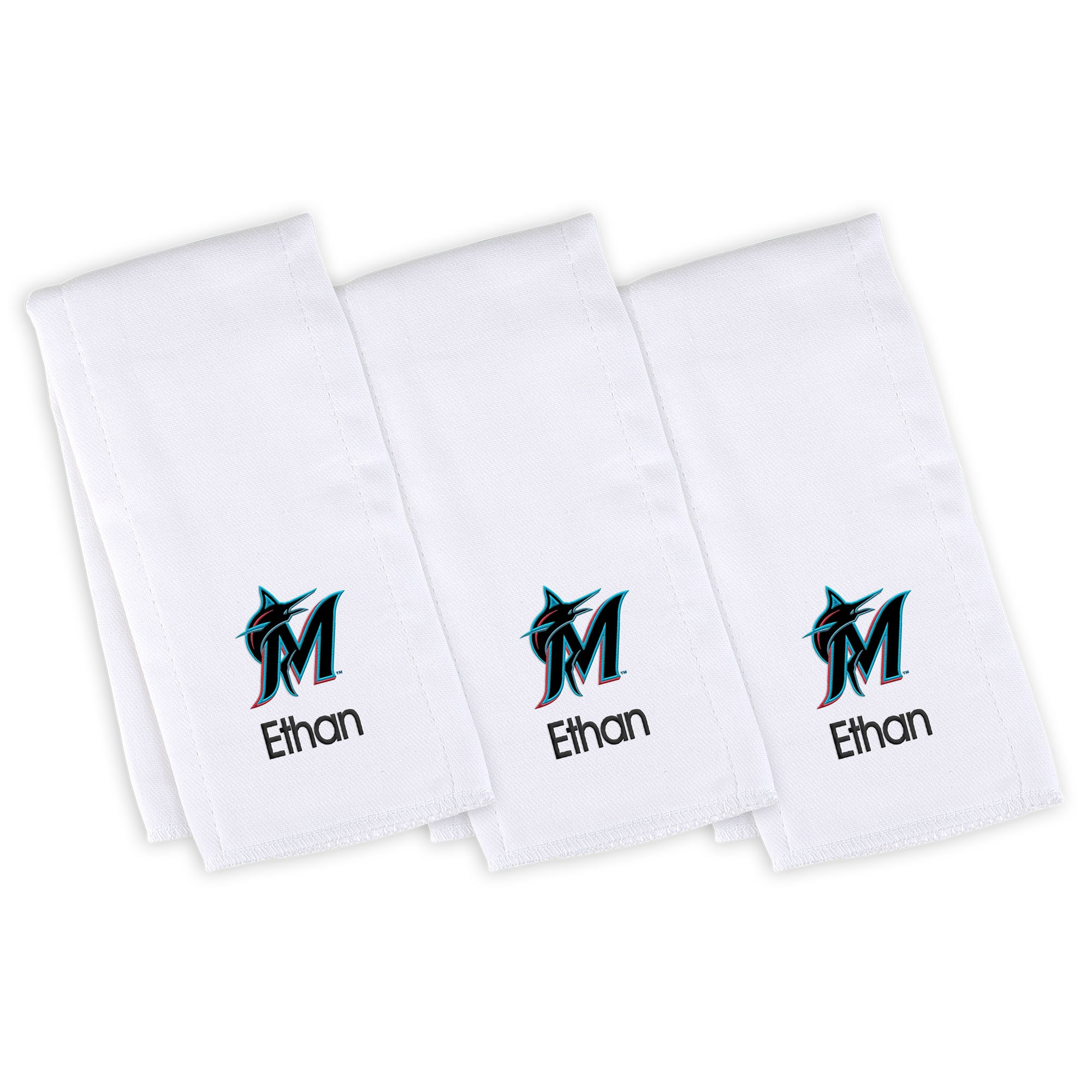 Miami Marlins Infant Personalized Burp Cloth 3-Pack - White