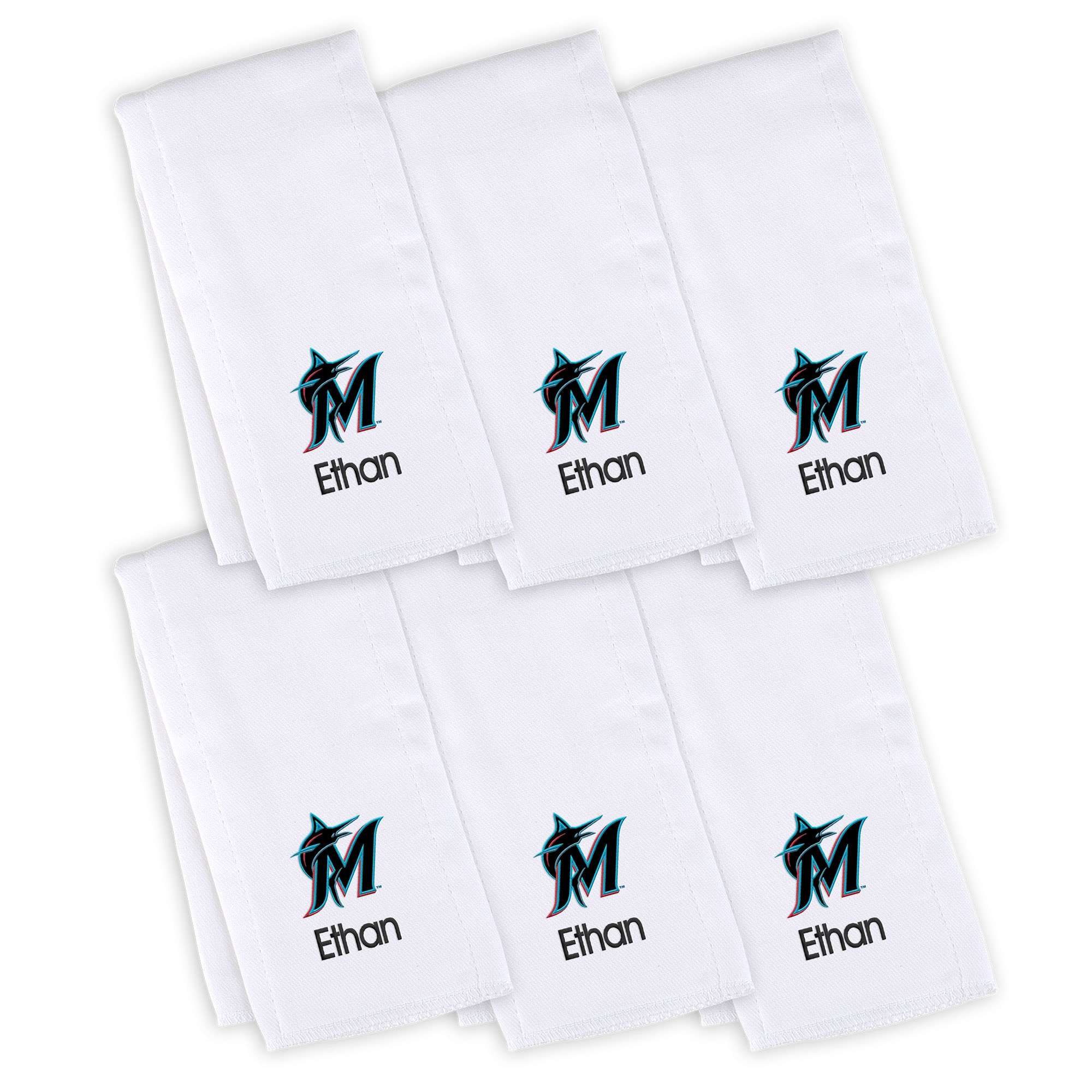 Miami Marlins Infant Personalized Burp Cloth 6-Pack - White