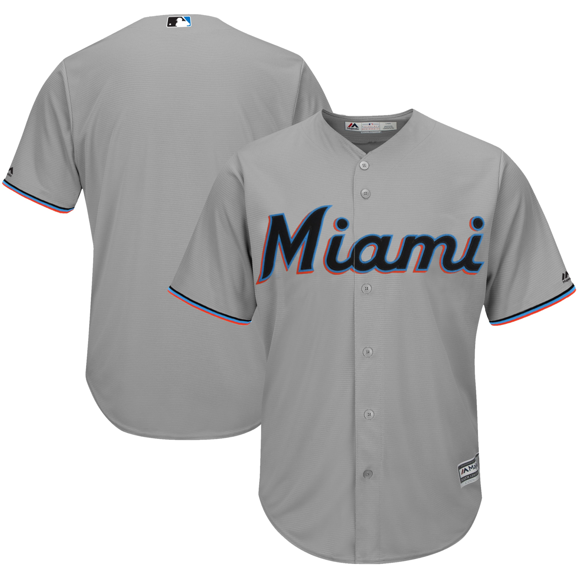 Miami Marlins Majestic 2019 Official Cool Base Jersey - Gray