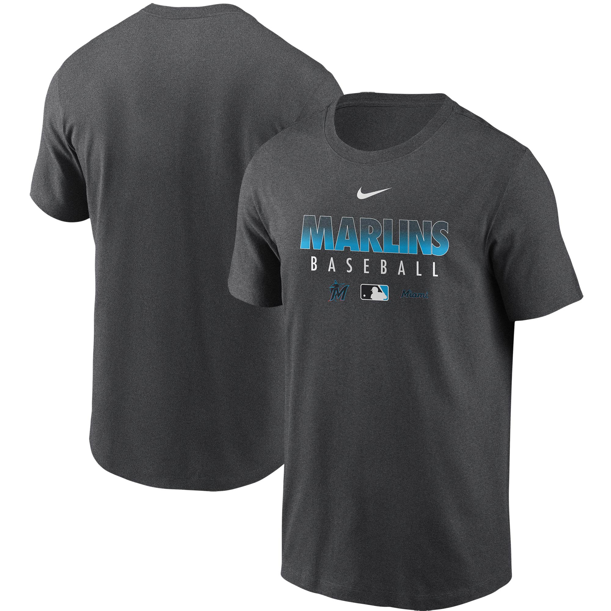 Miami Marlins Nike Authentic Collection Team Performance T-Shirt - Gray