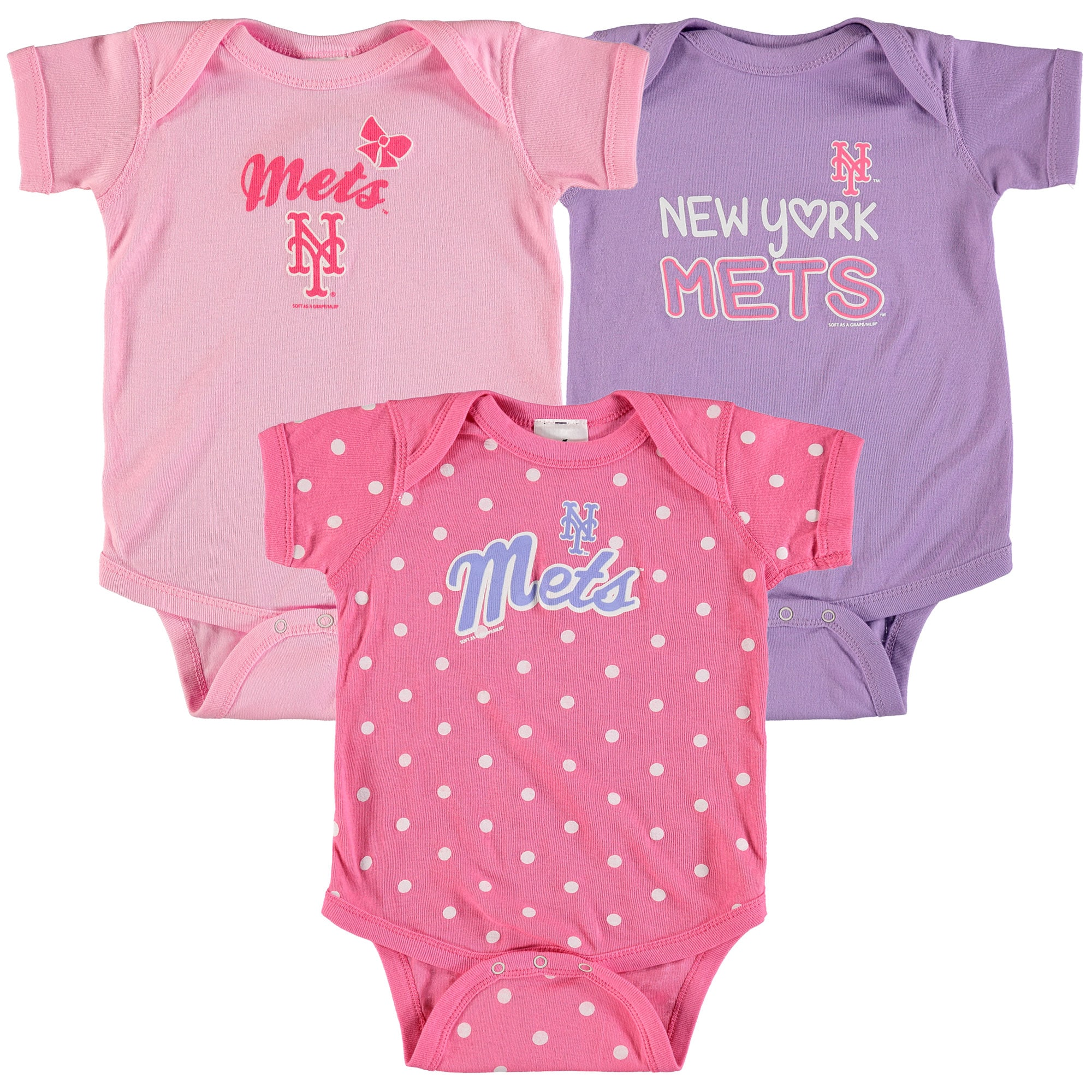 New York Mets Soft as a Grape Girls Infant 3-Pack Rookie Bodysuit Set - Pink/Purple