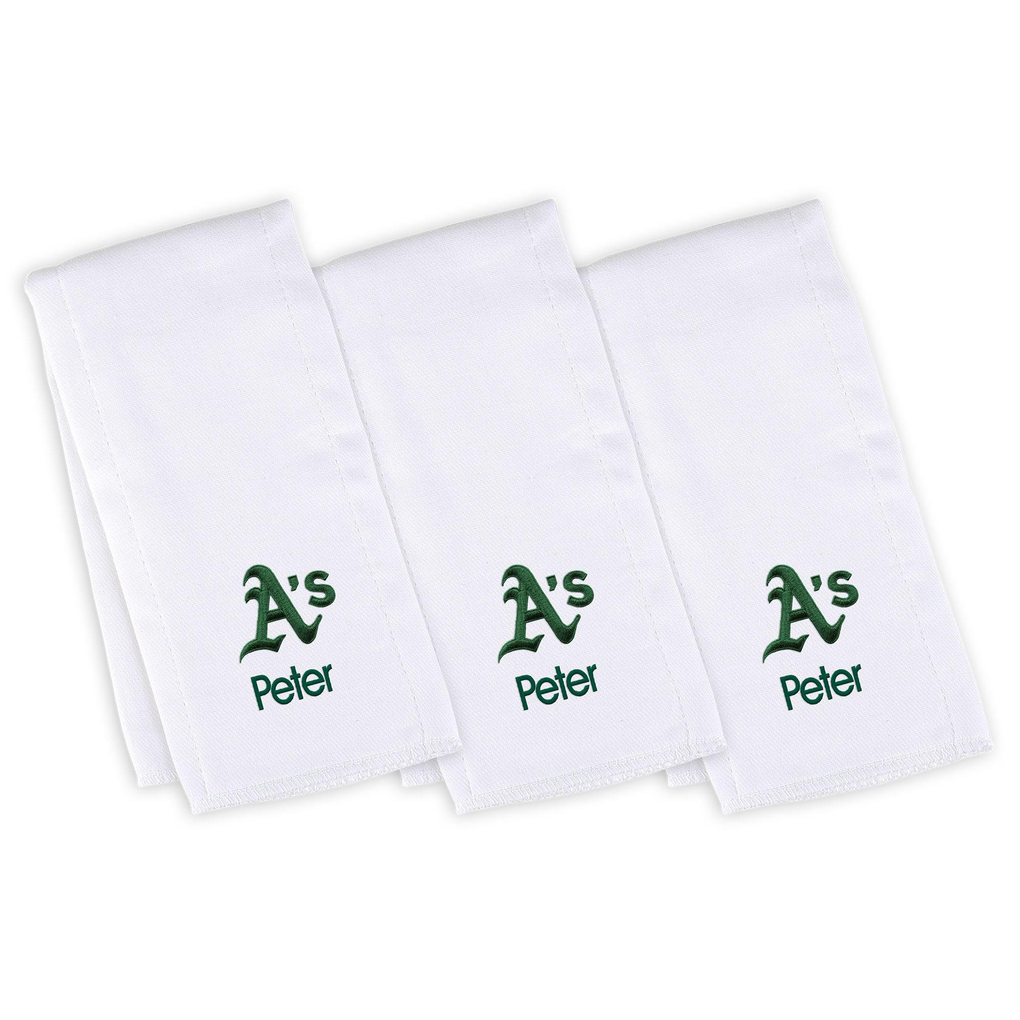 Oakland Athletics Infant Personalized Burp Cloth 3-Pack - White