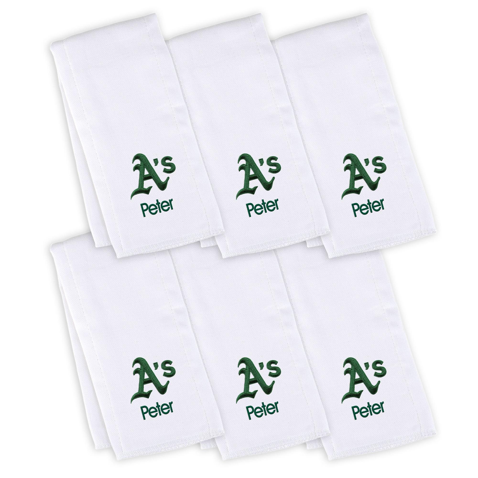 Oakland Athletics Infant Personalized Burp Cloth 6-Pack - White