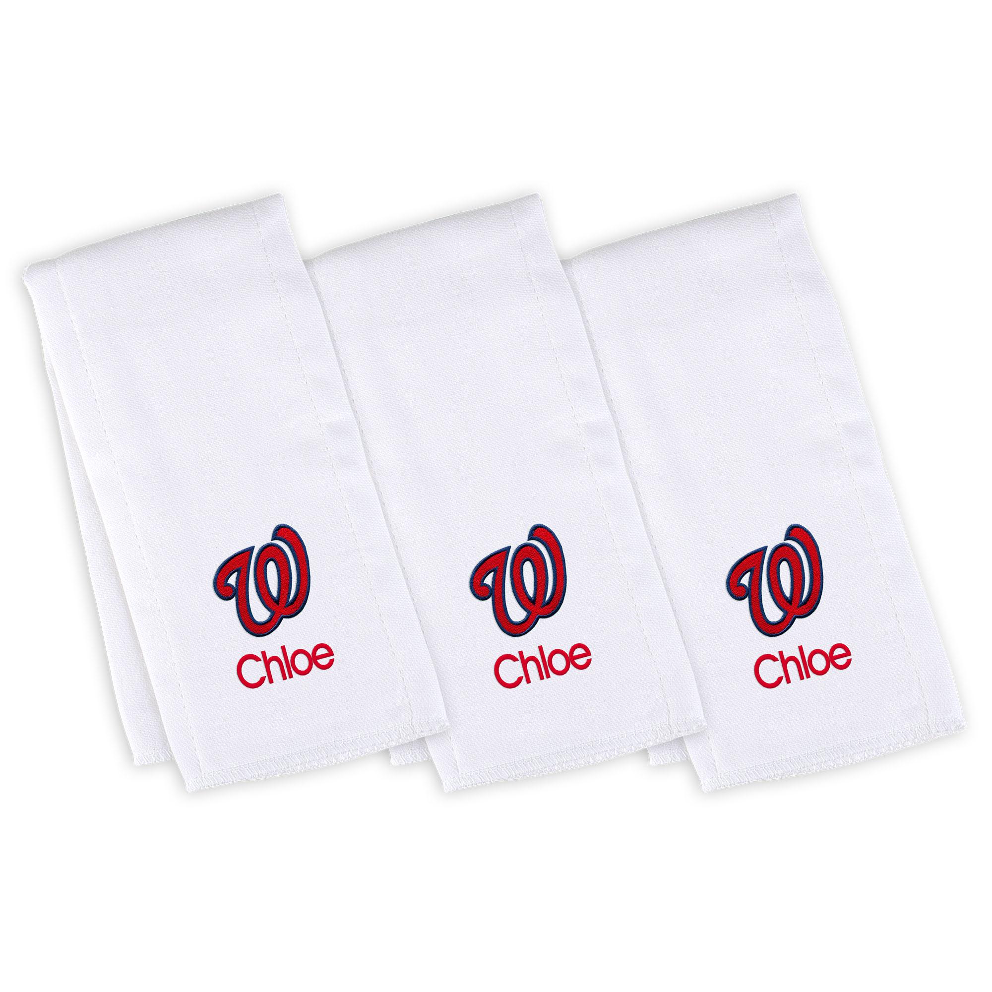 Washington Nationals Infant Personalized Burp Cloth 3-Pack - White