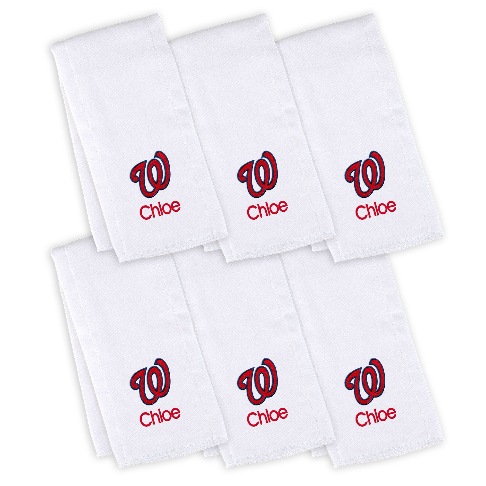 Washington Nationals Infant Personalized Burp Cloth 6-Pack - White