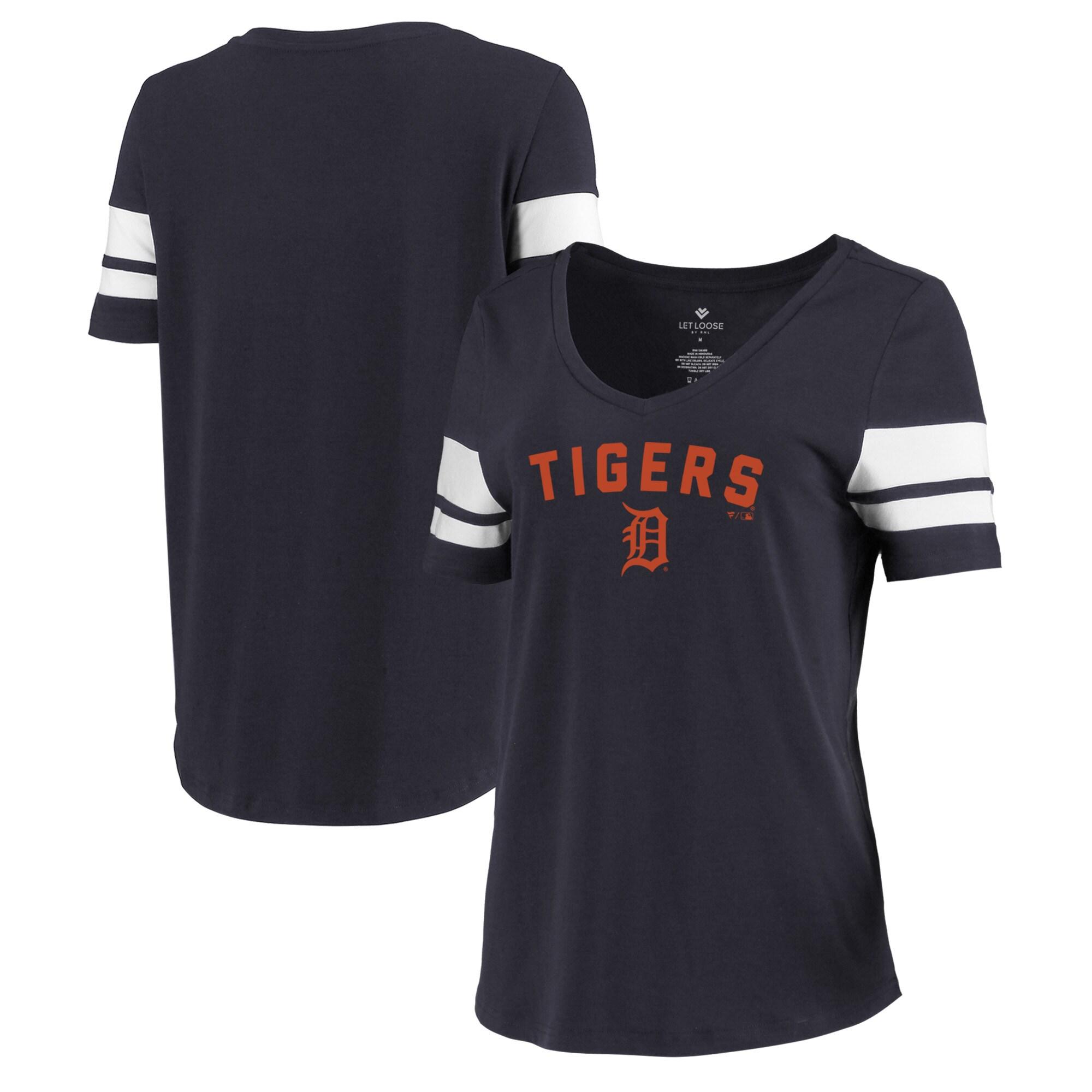 Detroit Tigers Let Loose by RNL Women's Scramble Two Stripe Tri-Blend T-Shirt - Navy