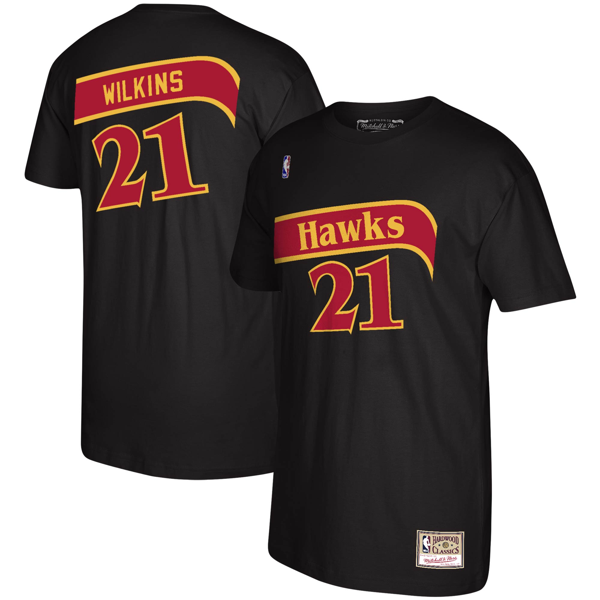 Dominique Wilkins Atlanta Hawks Mitchell & Ness Reload Name & Number T-Shirt - Black
