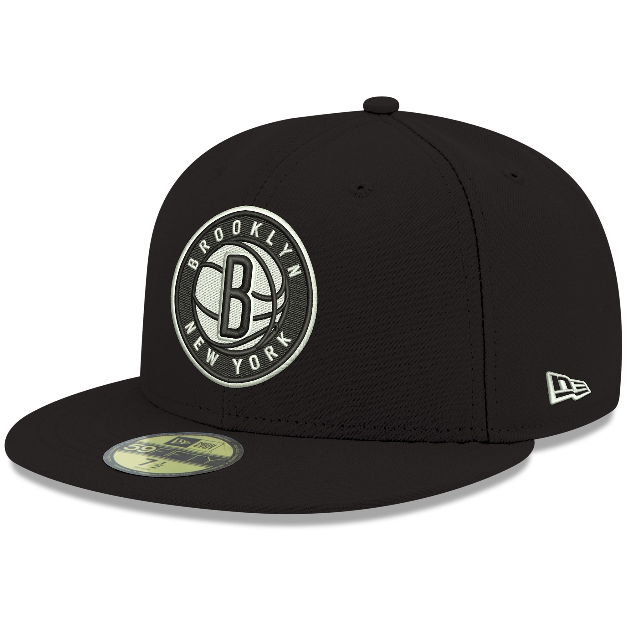 Brooklyn Nets New Era Official Team Color 59FIFTY Fitted Hat - Black