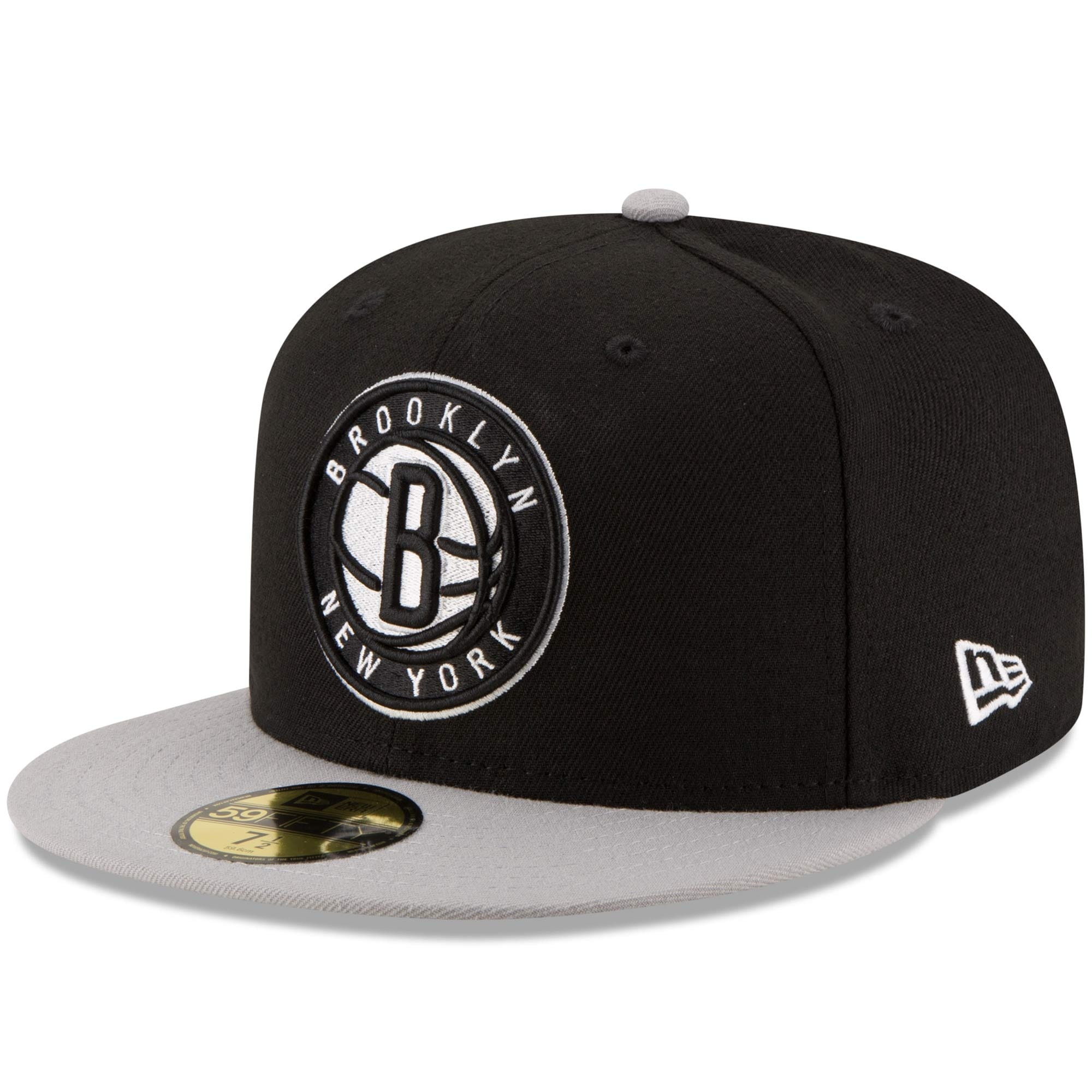 Brooklyn Nets New Era Official Team Color 2Tone 59FIFTY Fitted Hat - Black/Gray
