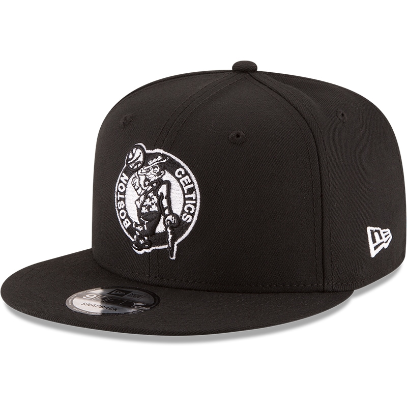 Boston Celtics New Era Black & White Logo 9FIFTY Adjustable Snapback Hat - Black