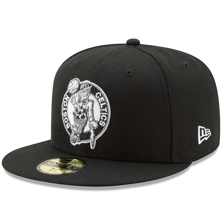 Boston Celtics New Era Black & White Logo 59FIFTY Fitted Hat - Black