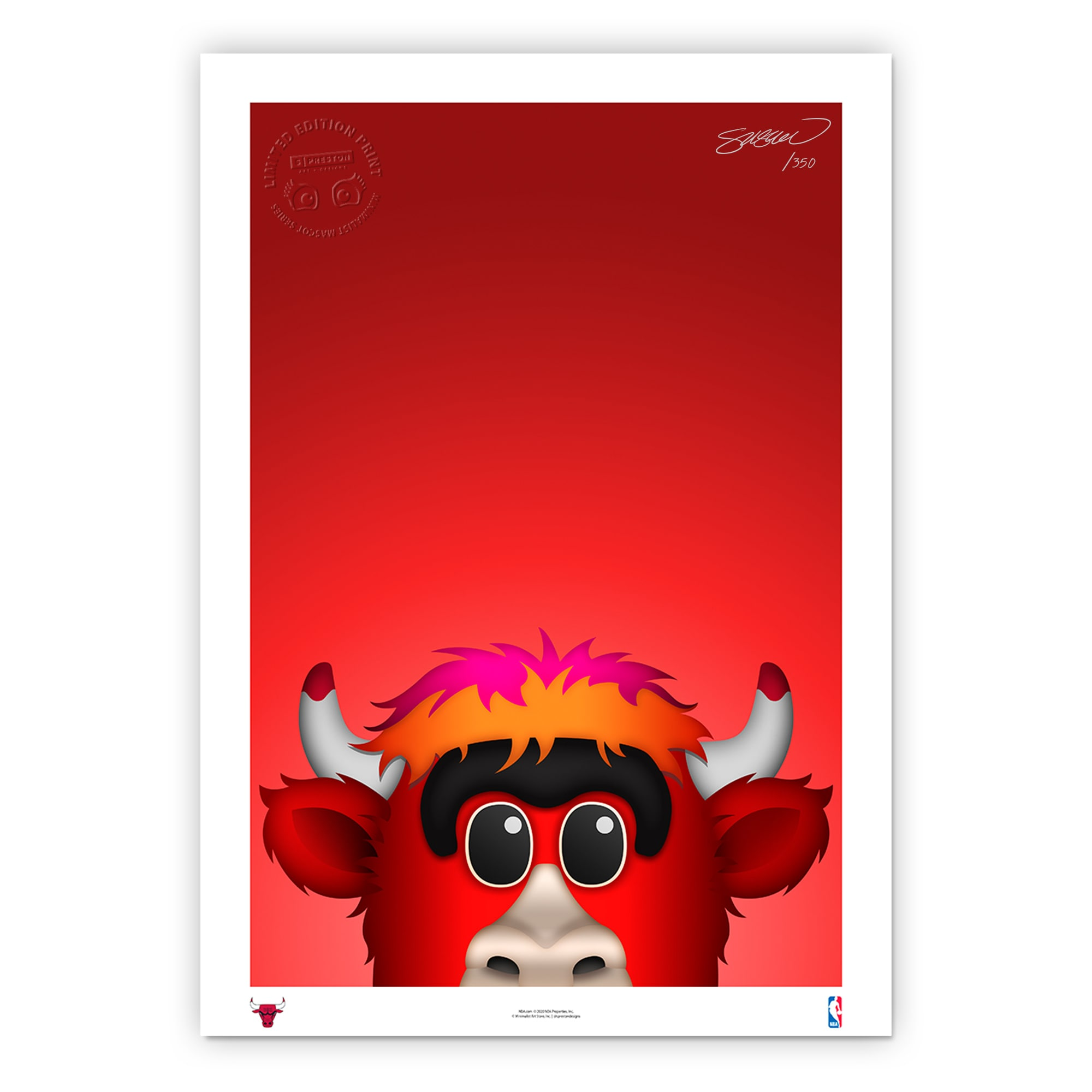 Chicago Bulls 14'' x 20'' Minimalist Mascot Fine Art Print