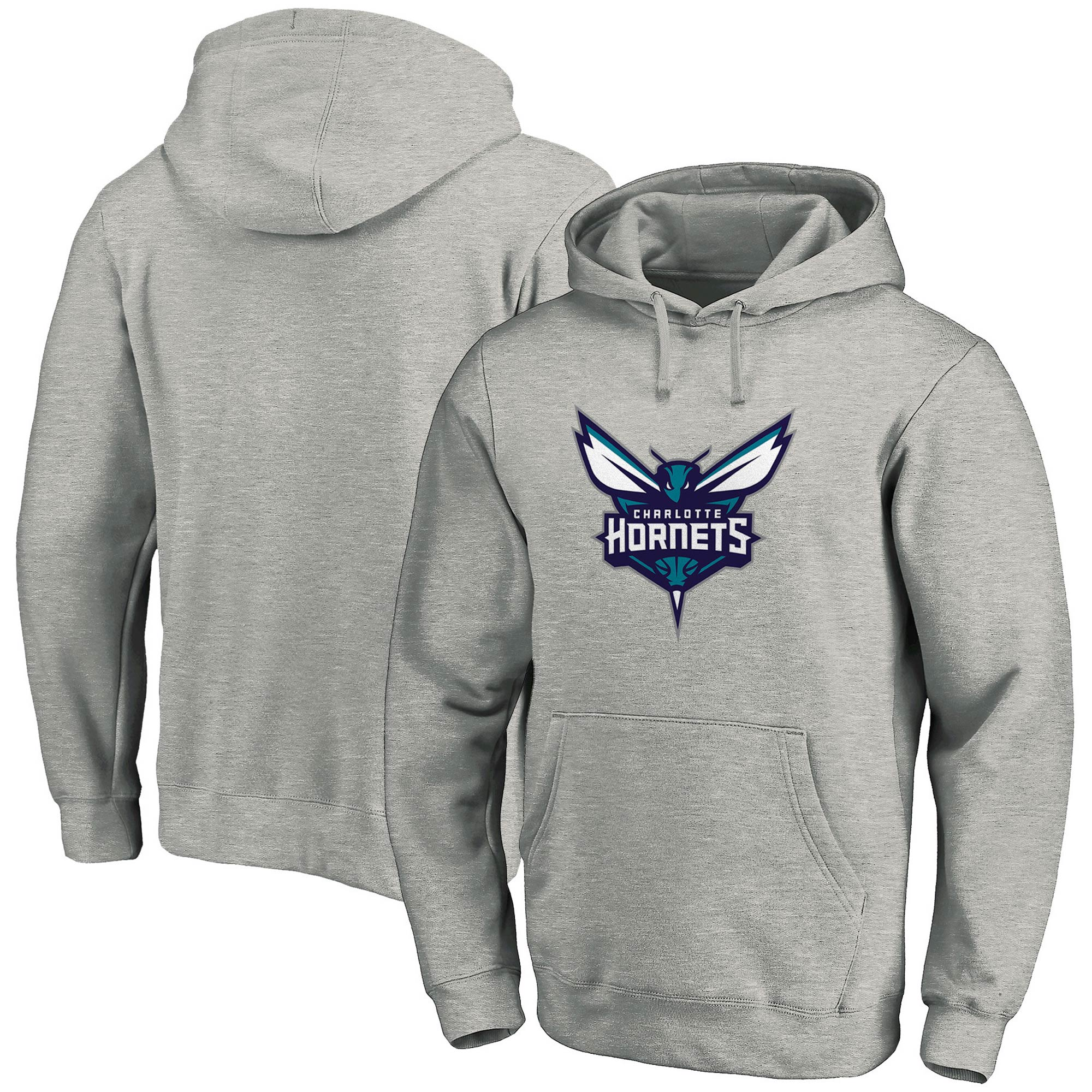Charlotte Hornets Fanatics Branded Team Primary Logo Pullover Hoodie - Heathered Gray