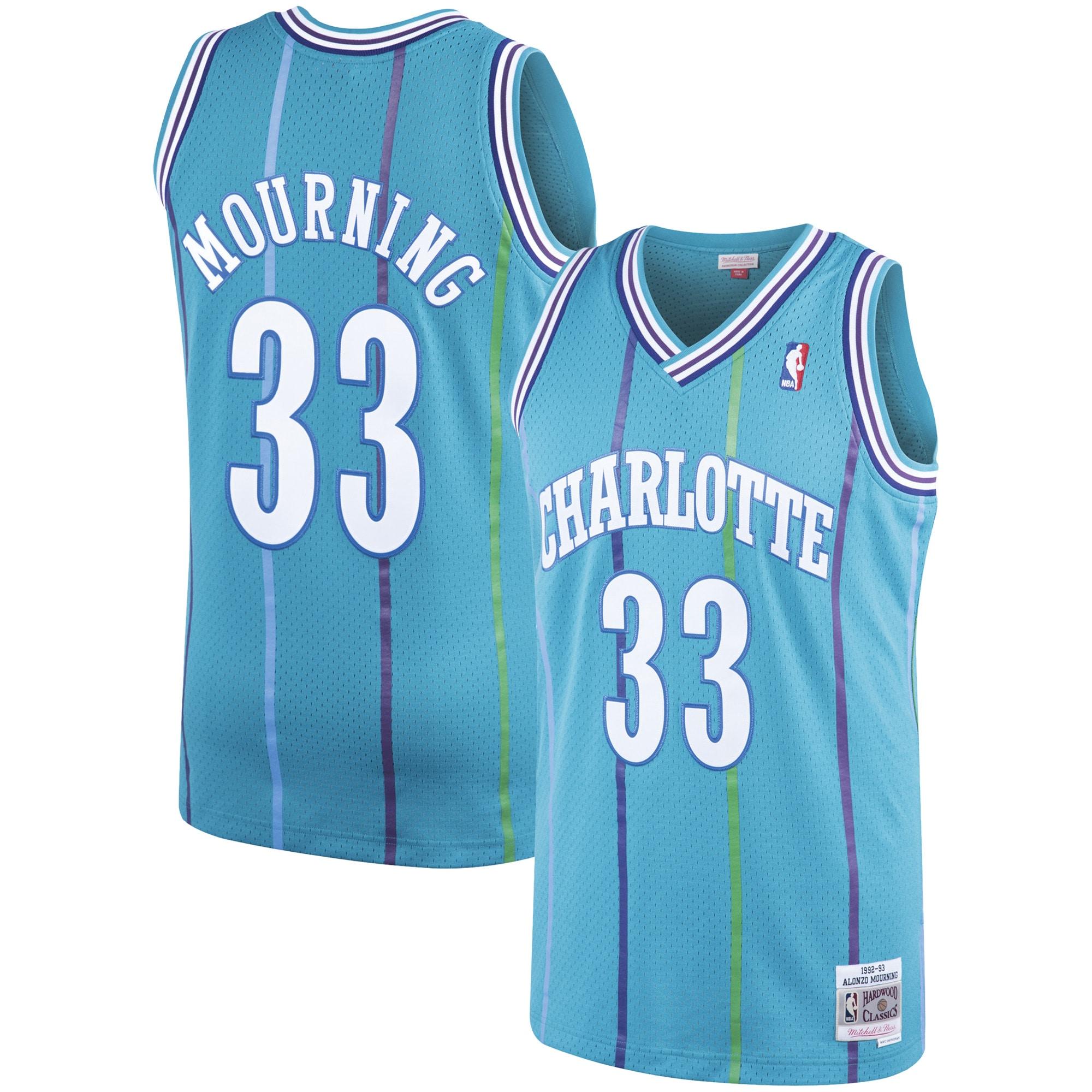 Alonzo Mourning Charlotte Hornets Mitchell & Ness 1992-93 Hardwood Classics Swingman Jersey - Teal